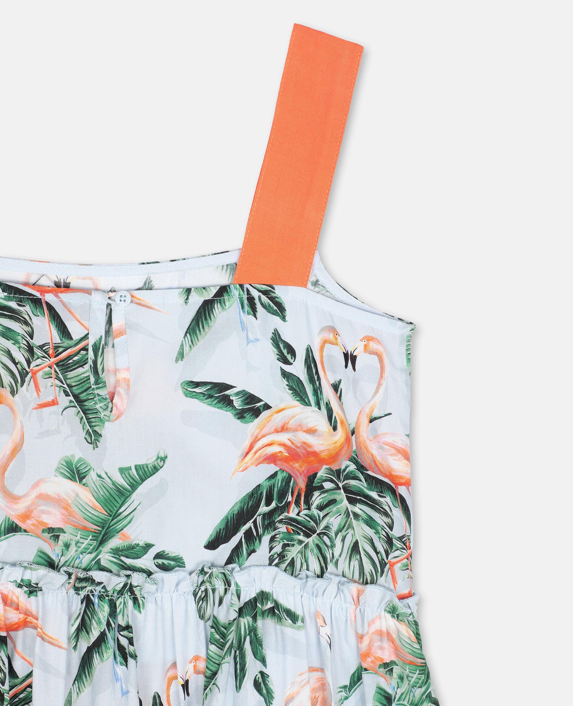 Viskosekleid mit malerischem Flamingo-Print-Grün-large image number 2