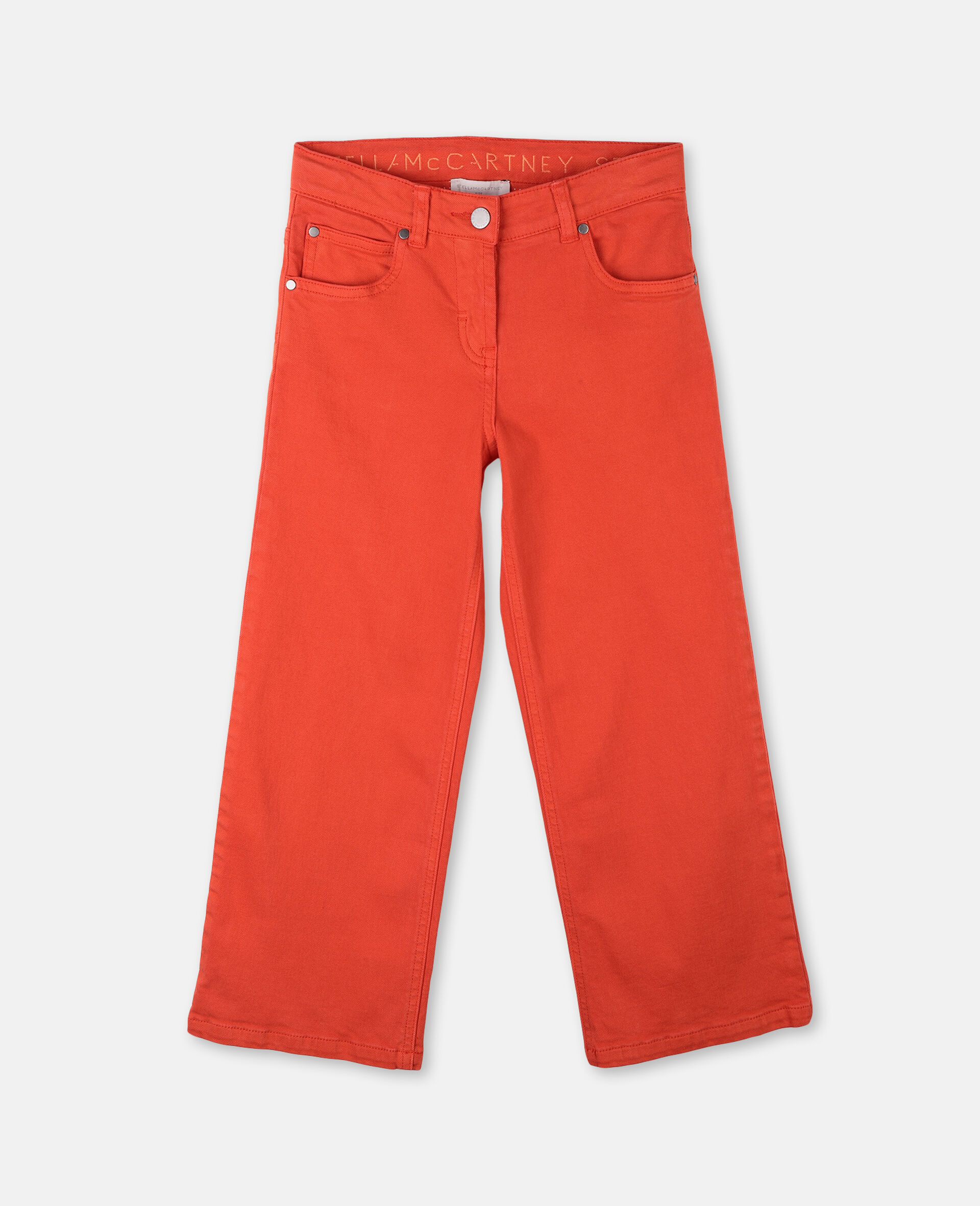 Cotton Denim Trousers-Red-large image number 0