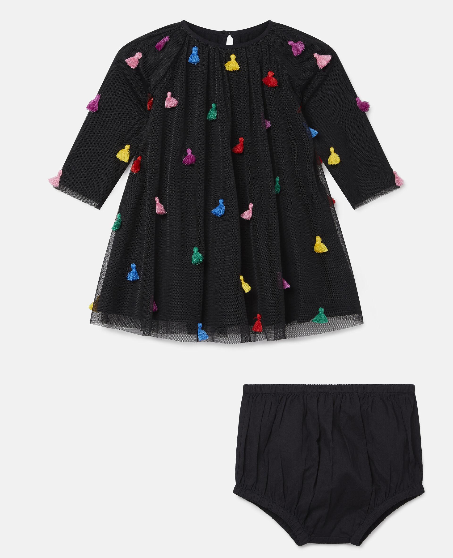 Tassels Tulle Dress-Black-large image number 0