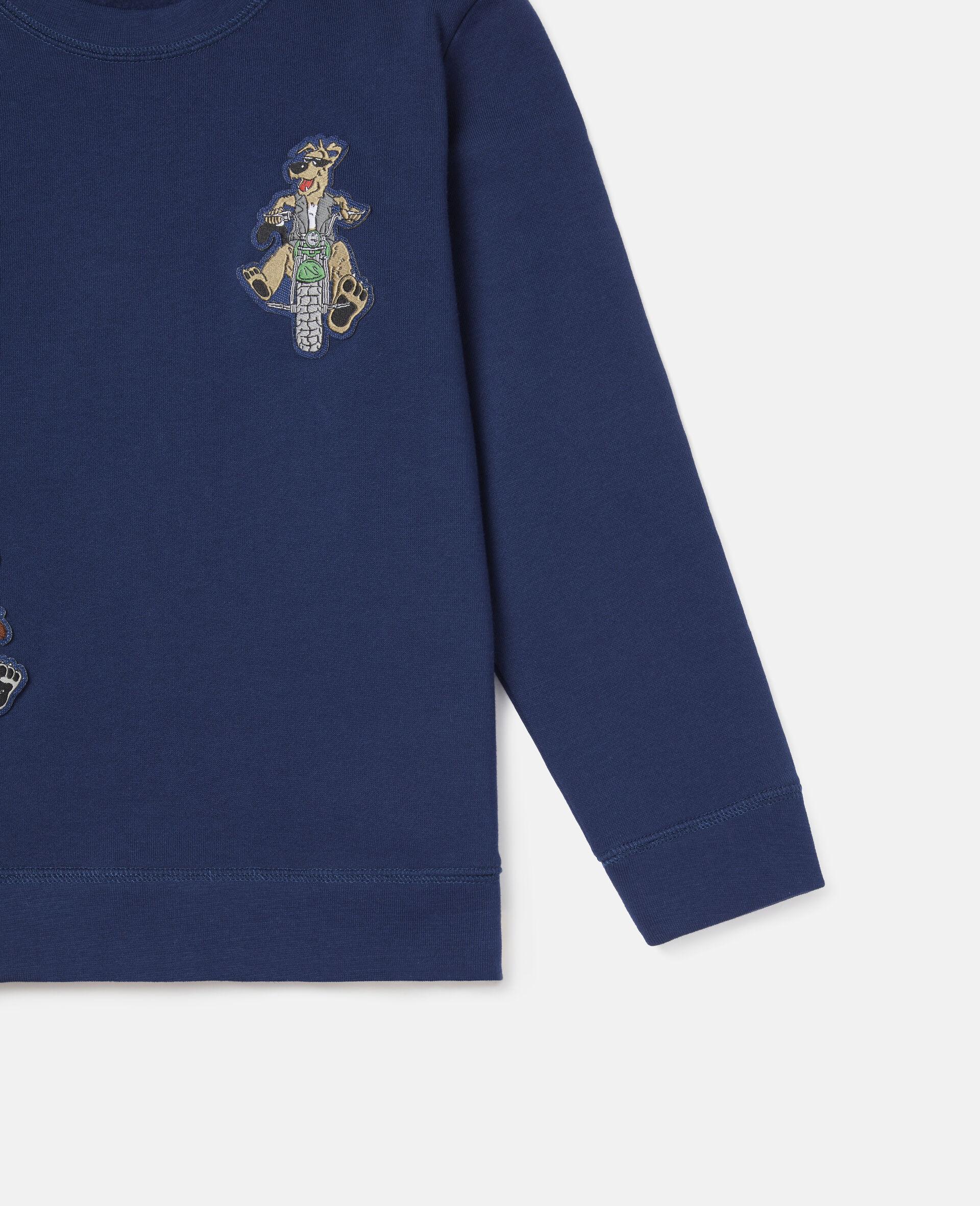 Sweat-shirt en polaire écussons chiens motards-Bleu-large image number 2