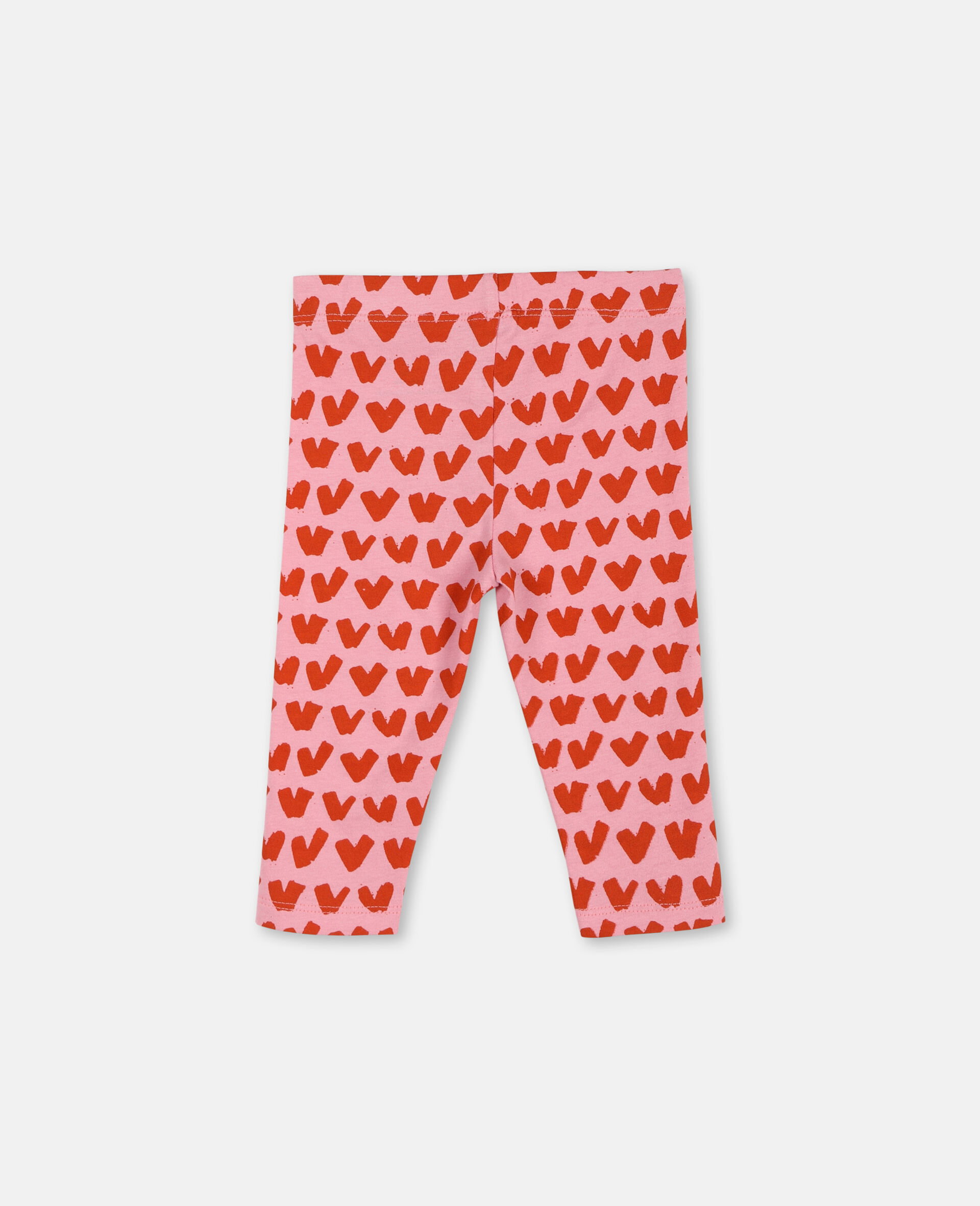 Hearts Cotton Leggings -Pink-large image number 3