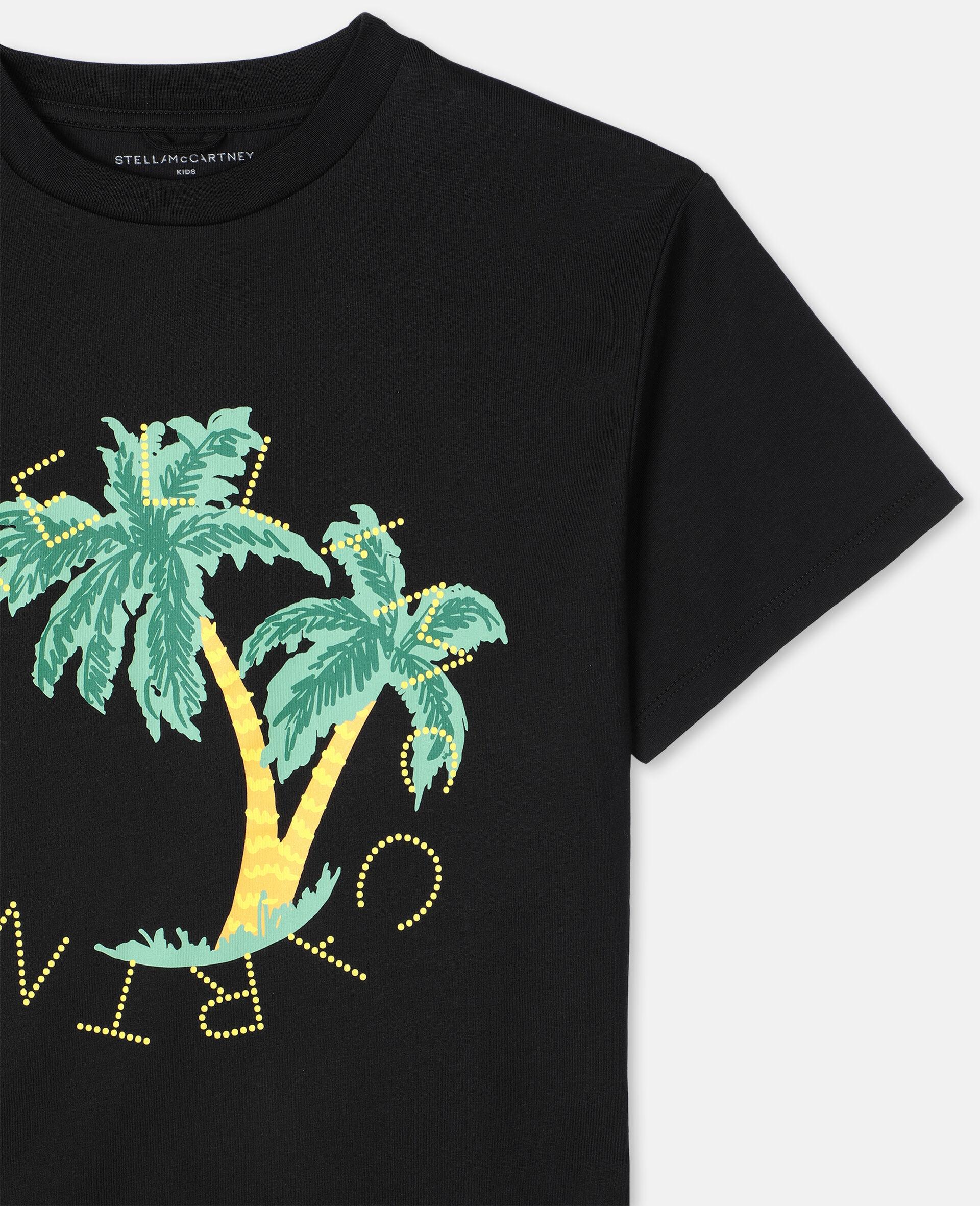 Oversize Logo Palm Cotton T-shirt -Black-large image number 1