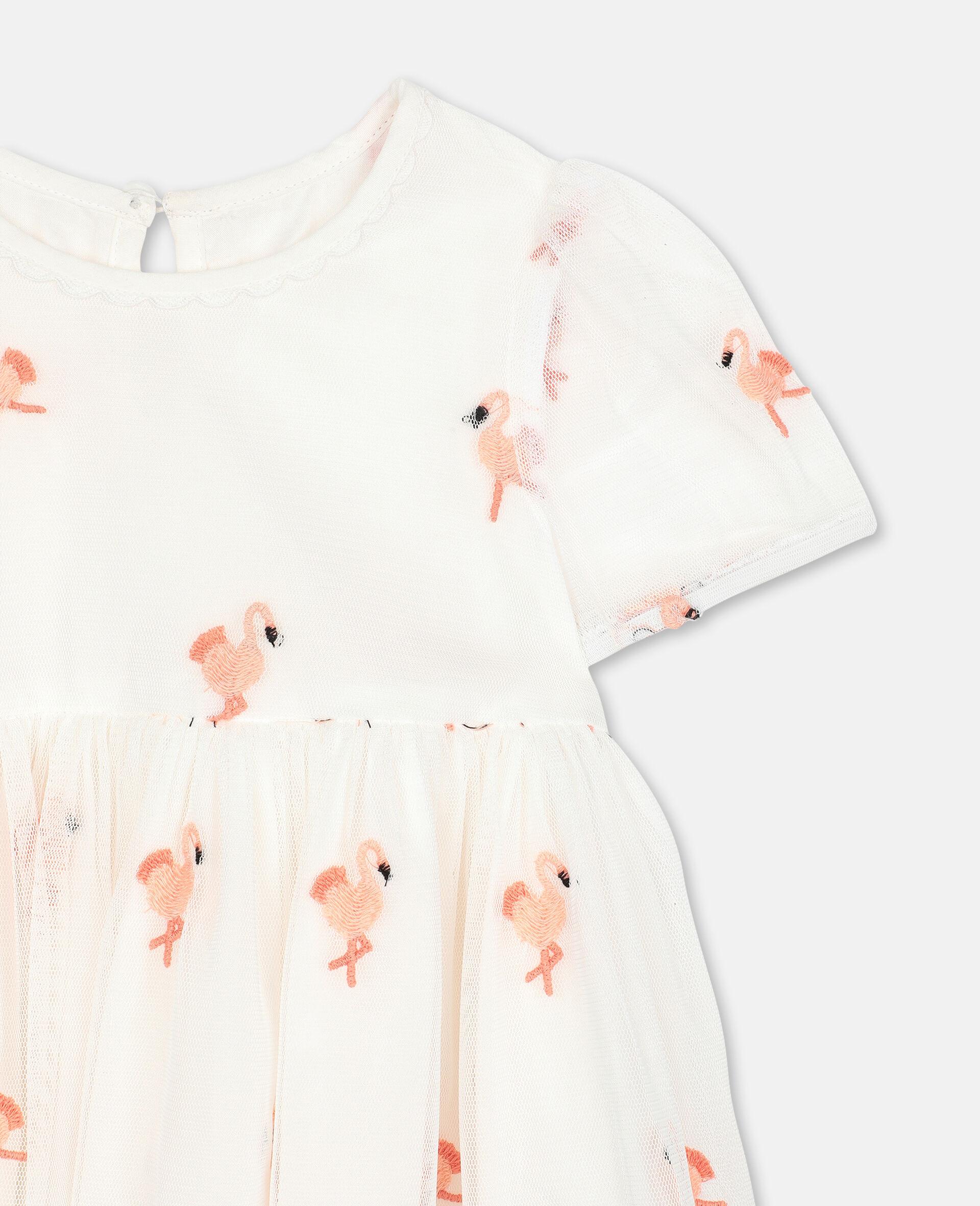 Kleid aus Tüll mit Flamingo-Stickerei-Weiß-large image number 1