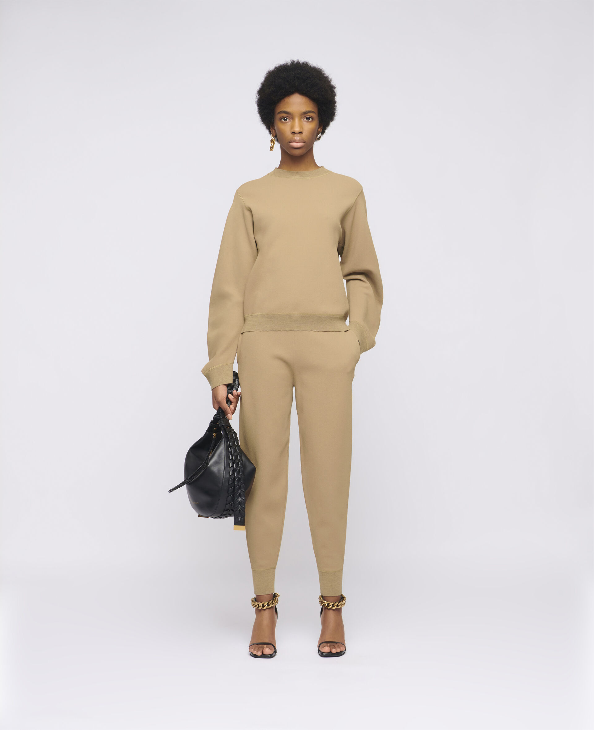 Compact Knit Trousers-Brown-large image number 1