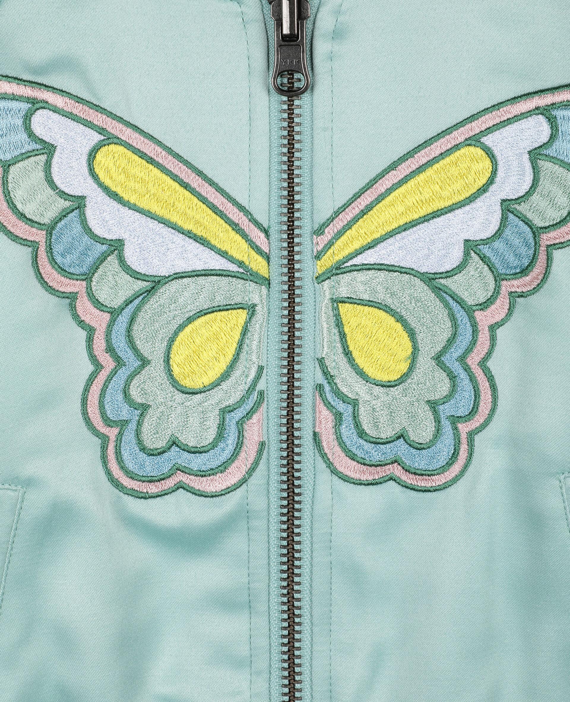 Bomber en satin à motif papillon -Vert-large image number 3