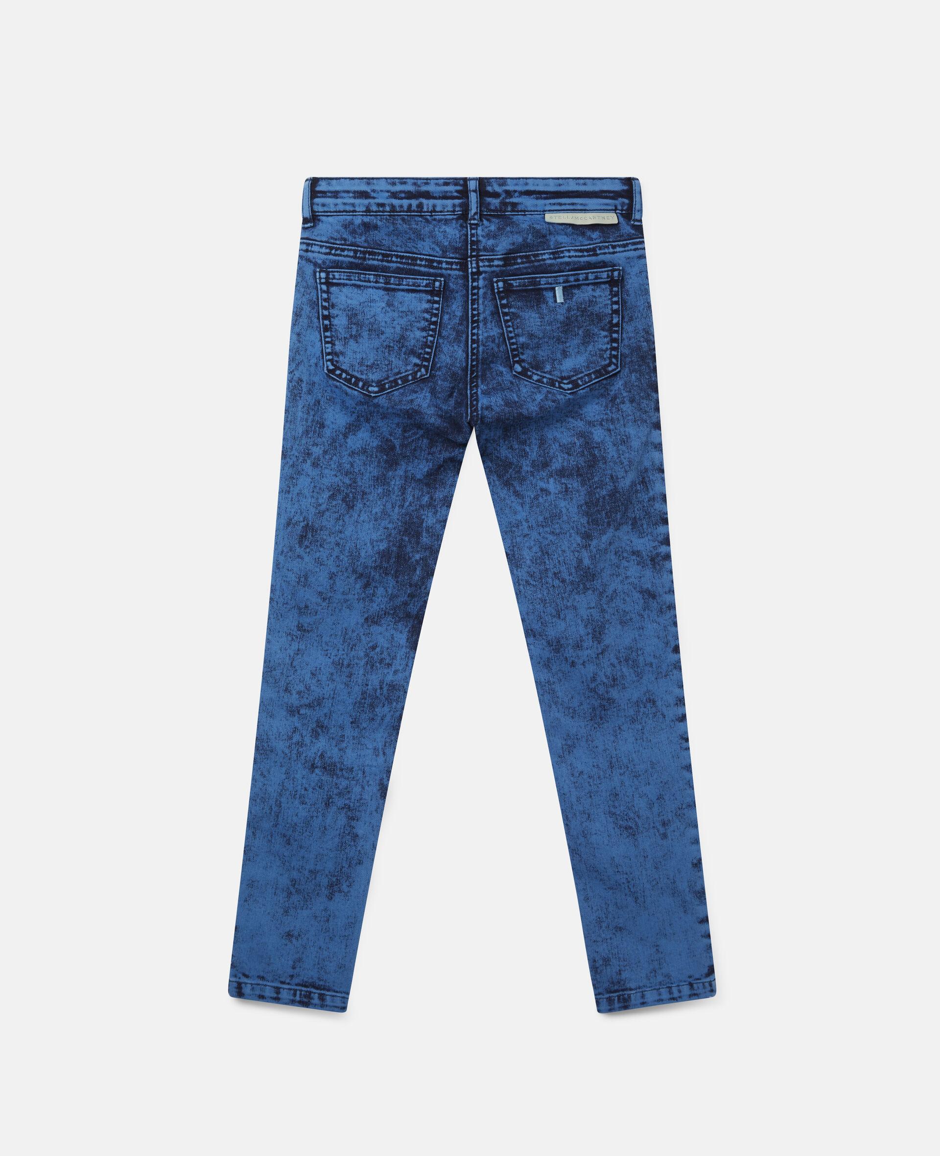 Acid Dye Wash Denim Pants -Blue-large image number 3