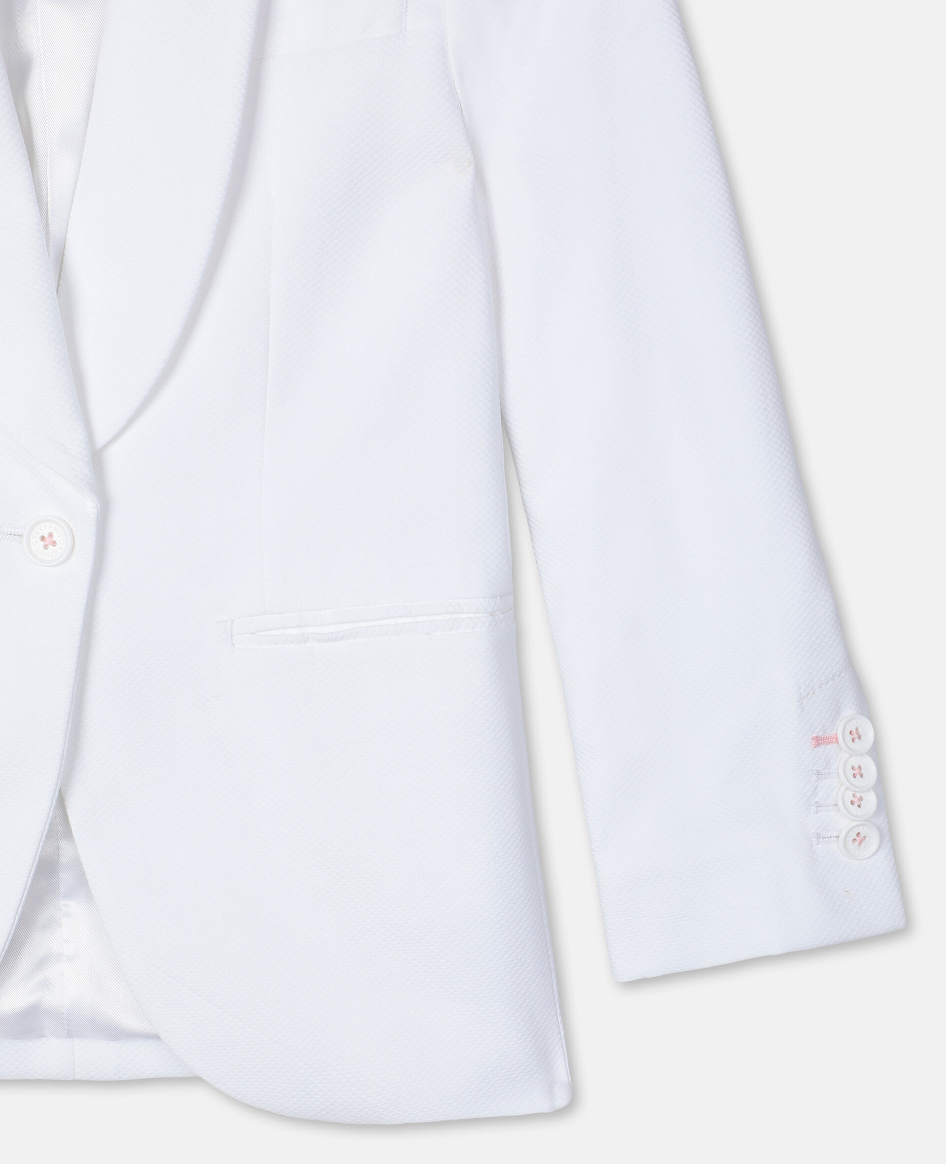 Cotton-Piqué Suit Jacket -White-large image number 2
