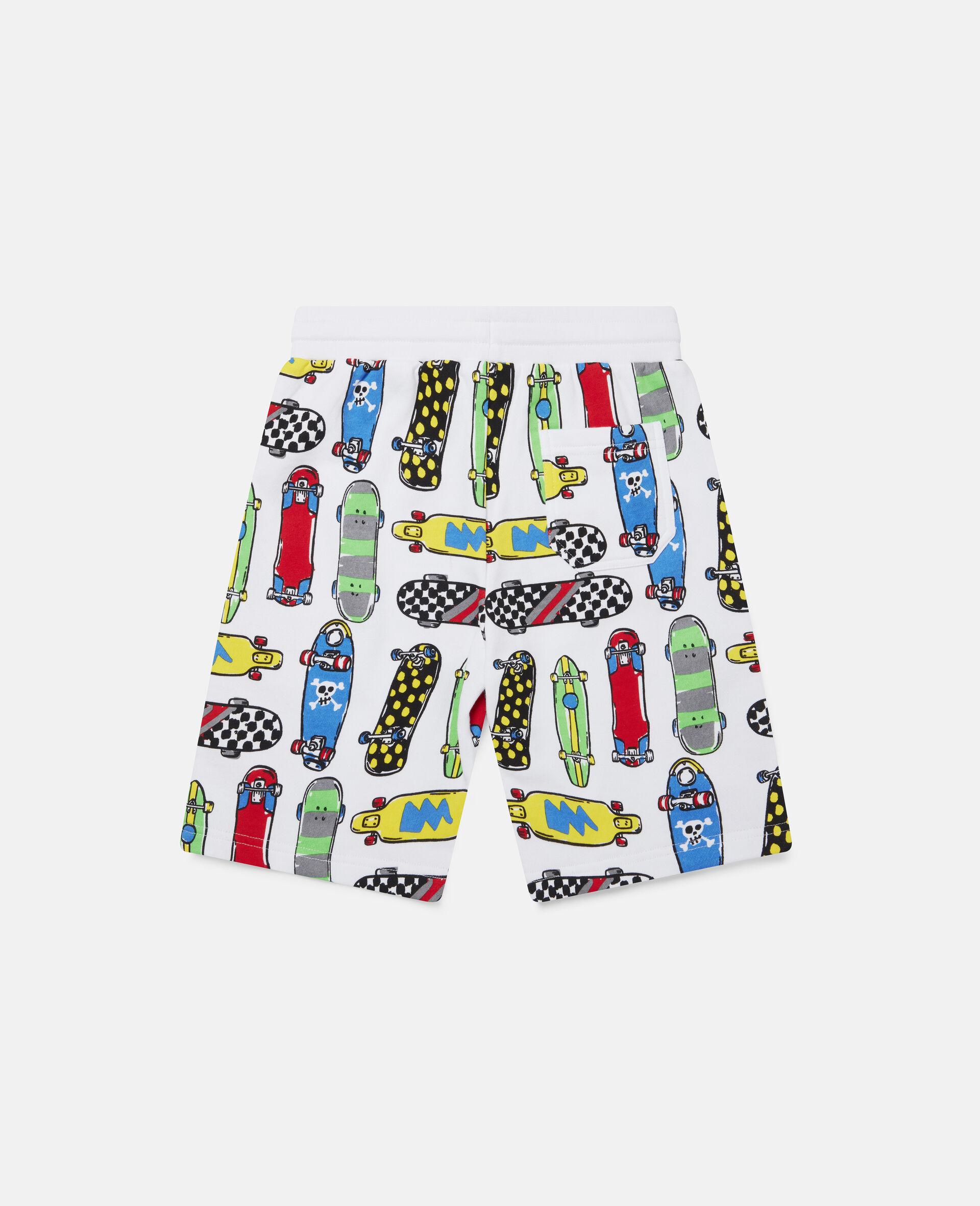 Fleece-Shorts mit Skateboardmotiv-Weiß-large image number 3