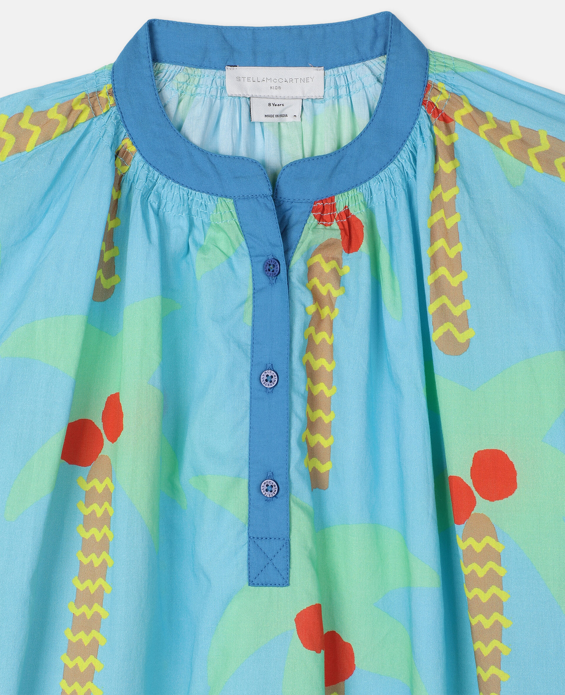 Palm Trees Oversize Cotton Dress-Green-large image number 2
