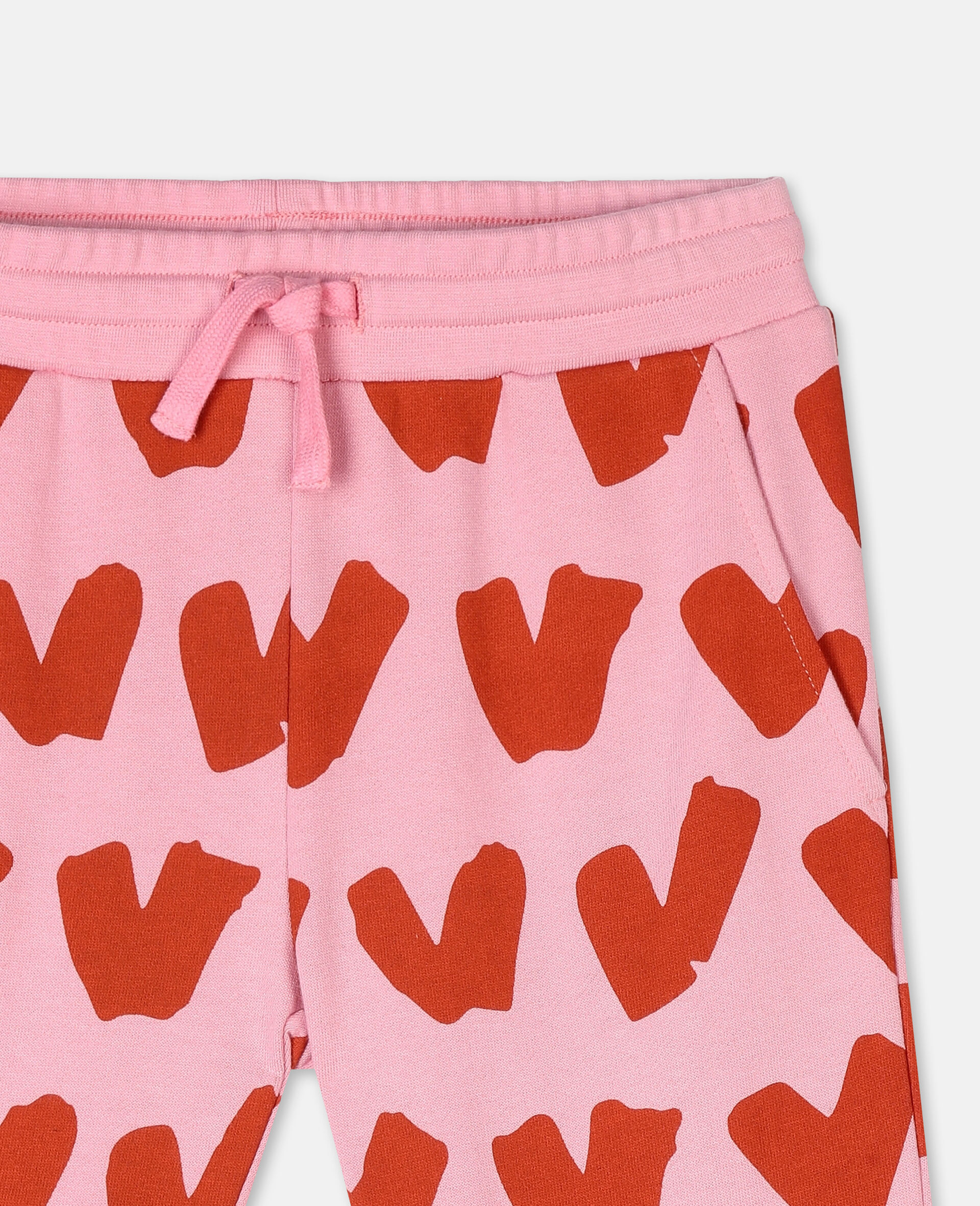 Hearts Cotton Fleece Joggers -Pink-large image number 1