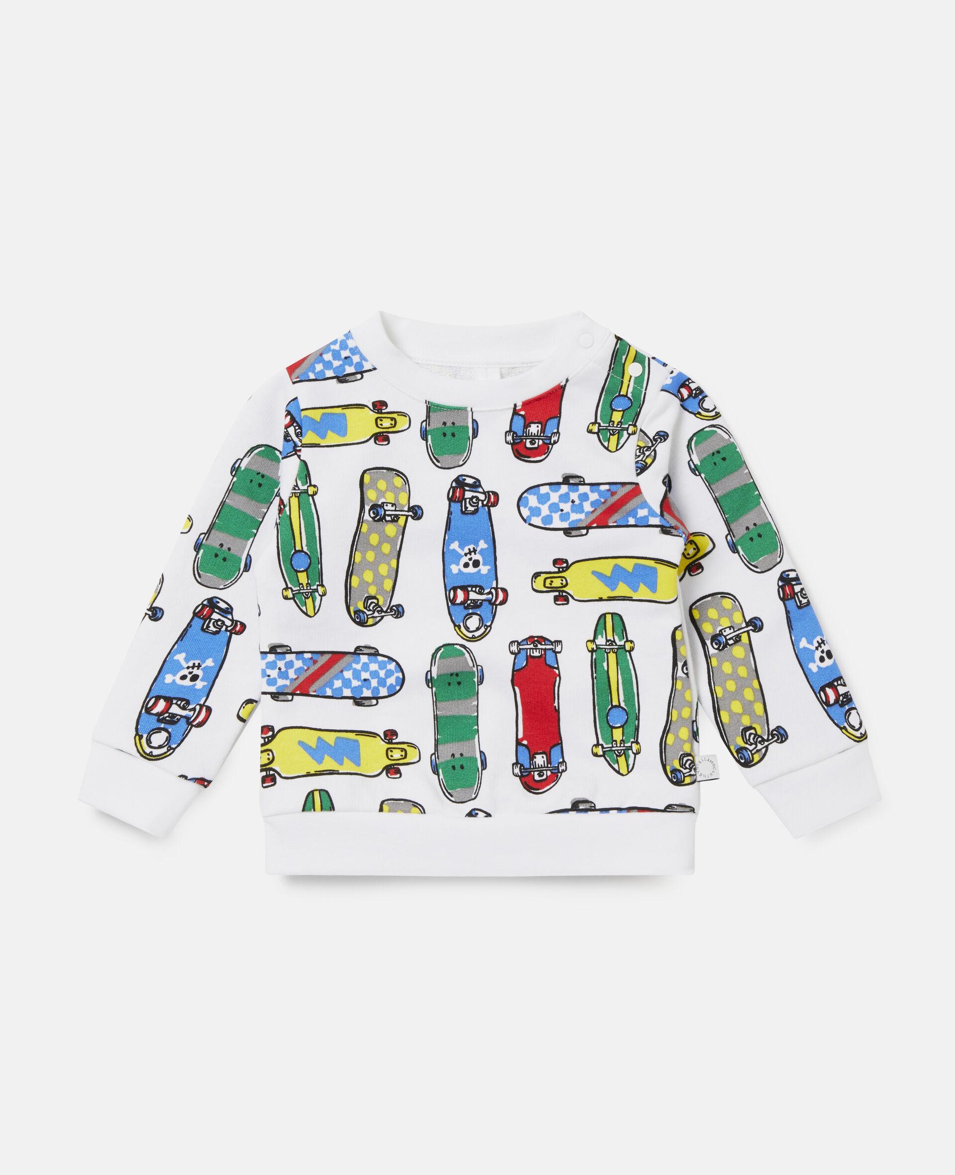 Fleece-Sweatshirt mit Skateboardmotiv-Weiß-large image number 0