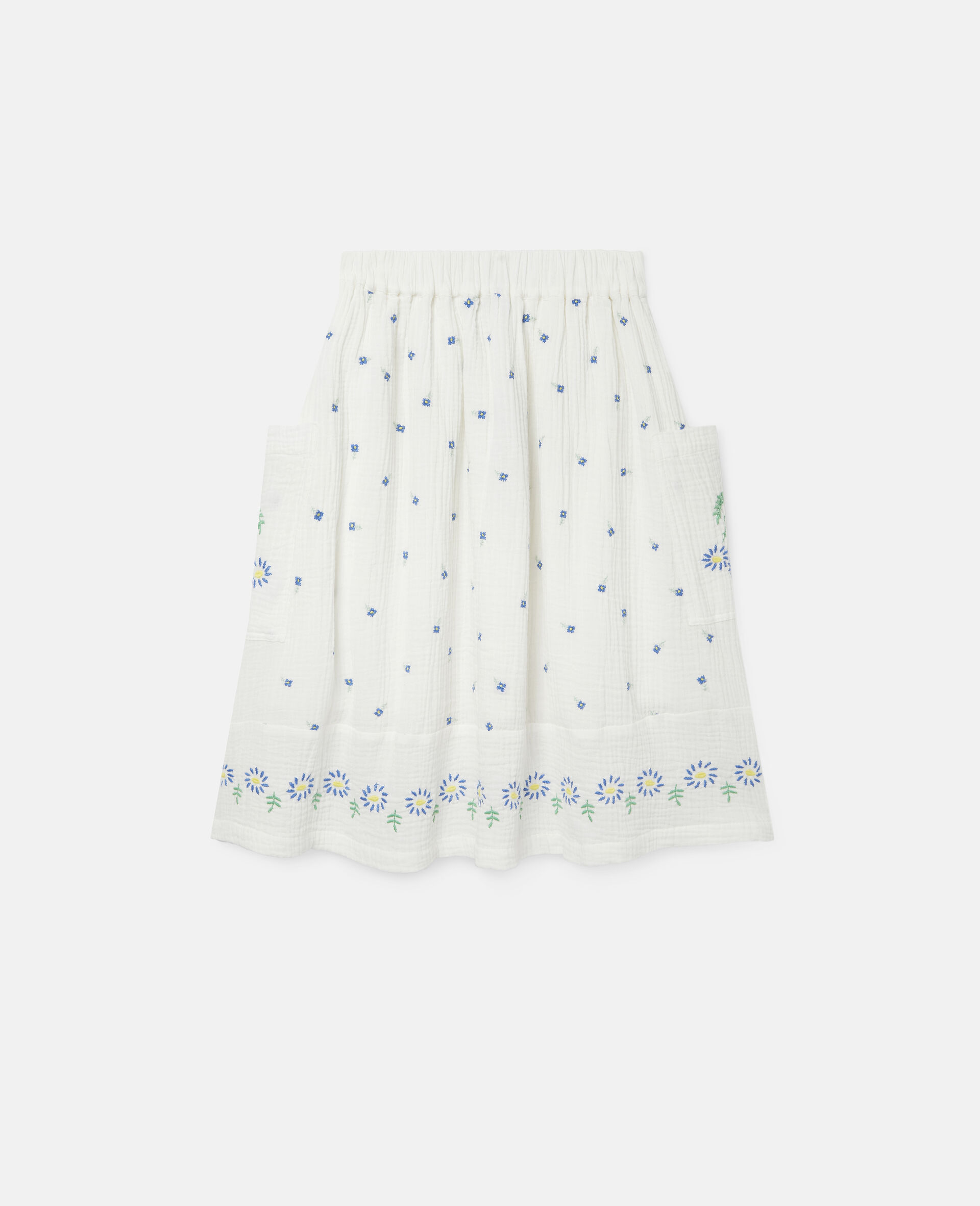 Embroidered Flowers Cotton Skirt-White-large image number 3