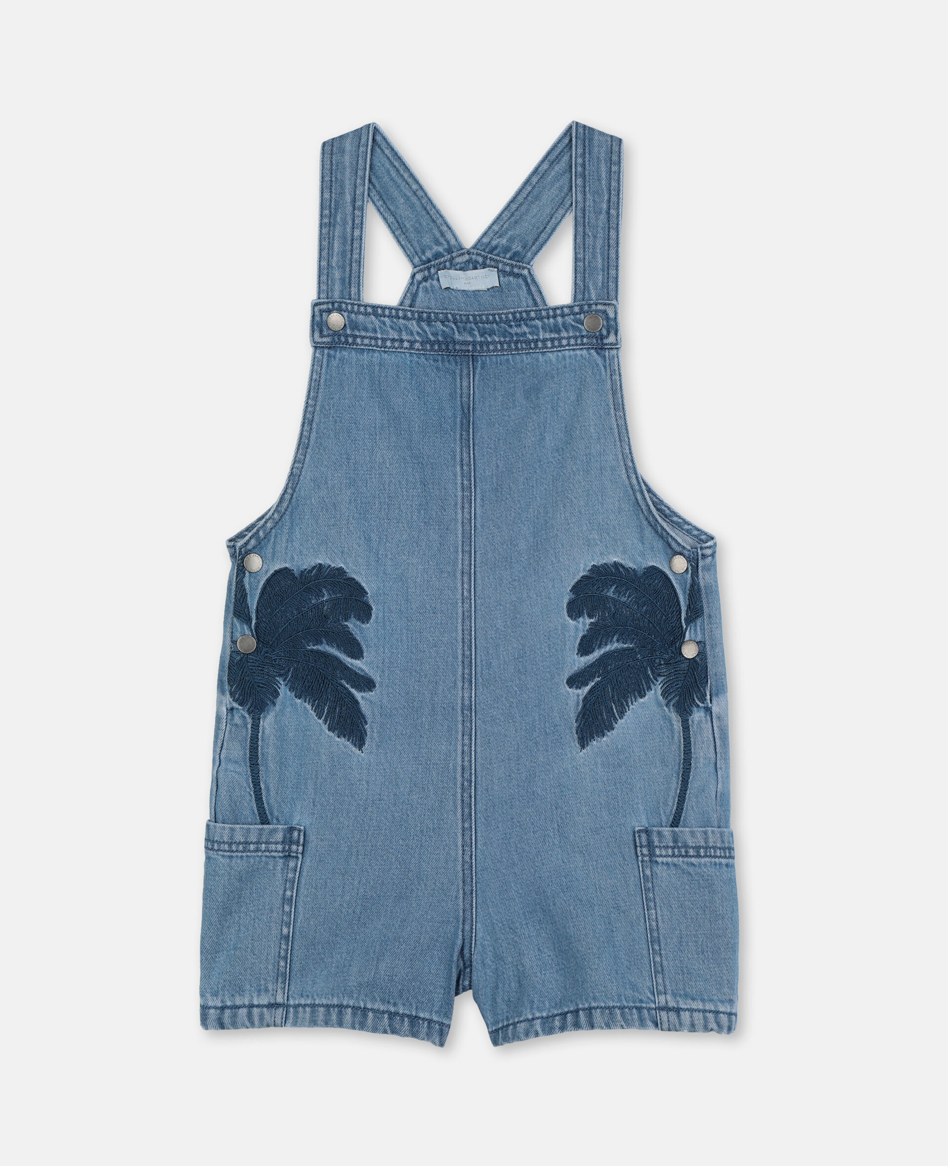 Embroidered Palms Denim Overalls-Blue-large image number 0