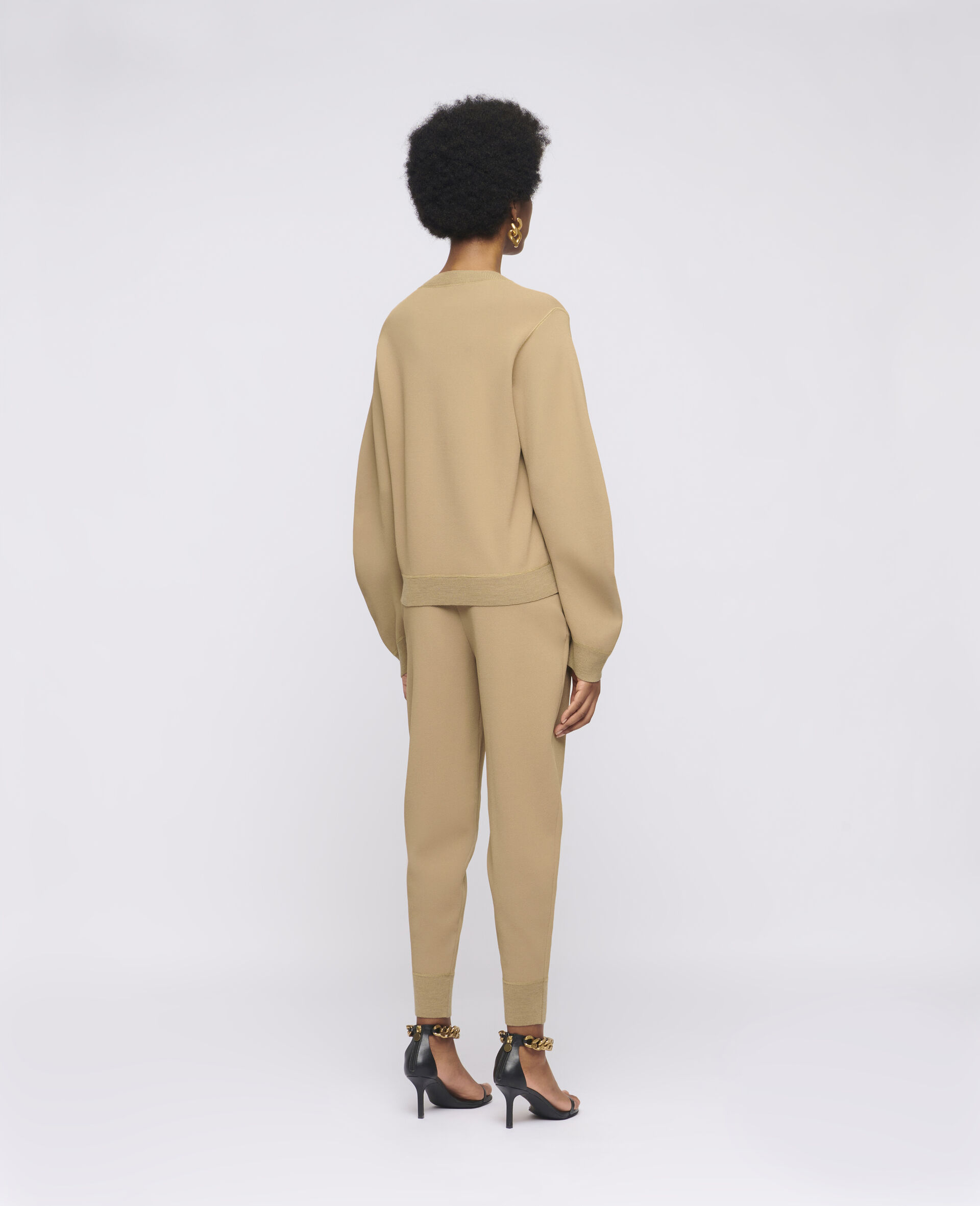 Compact Knit Trousers-Brown-large image number 2