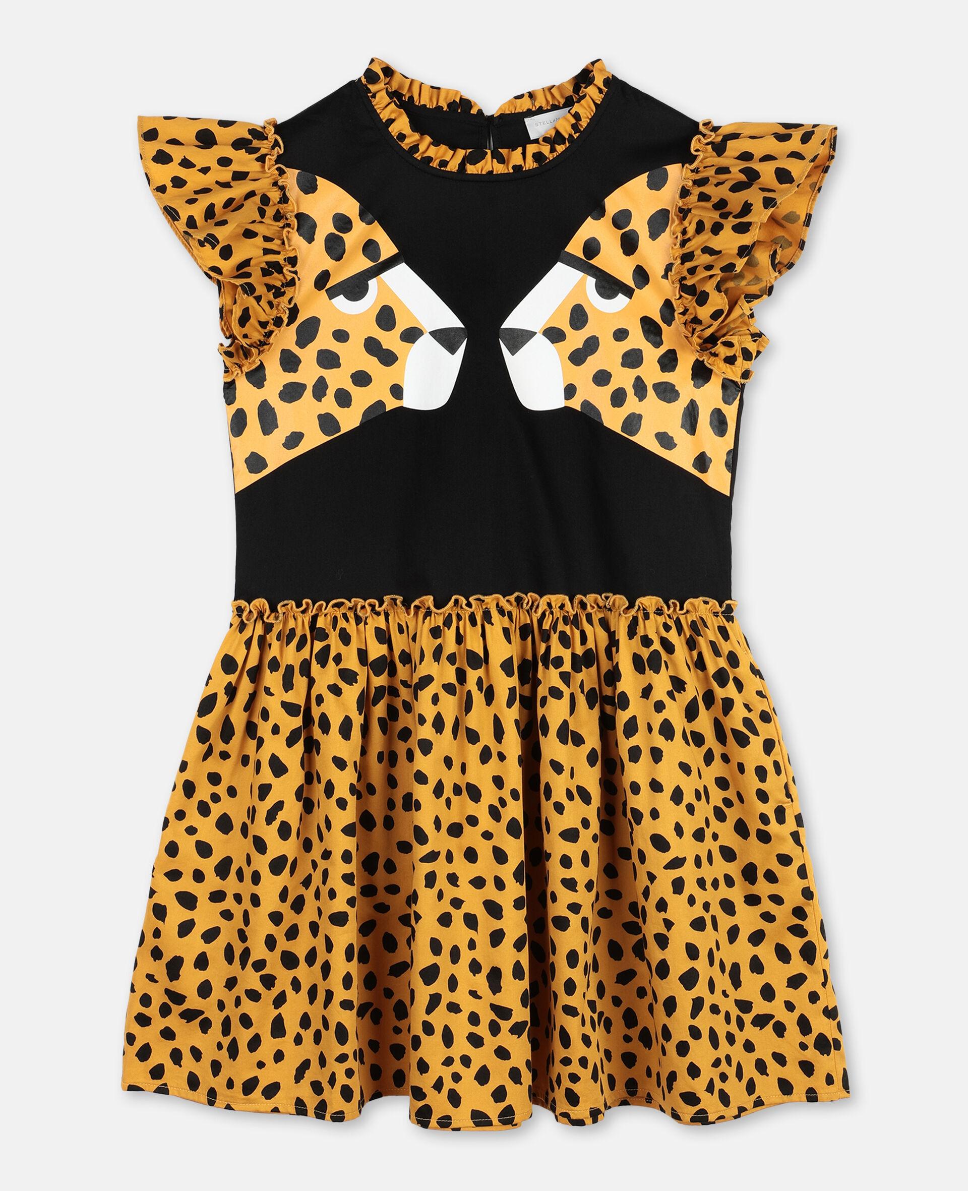 Robe en coton à motif guépard-Noir-large image number 0
