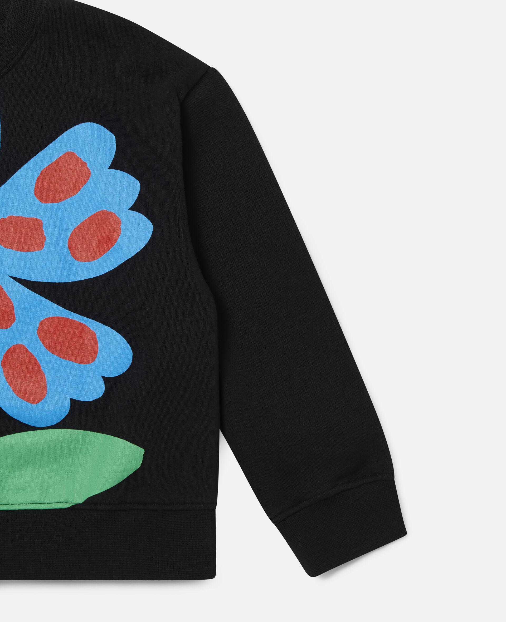 Übergroßes Sweatshirt aus Baumwollfleece mit gepunkteter Blume-Schwarz-large image number 2