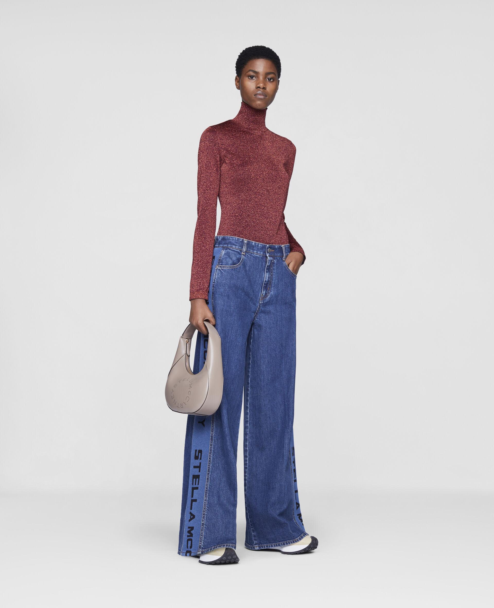 Flared Rib Denim Trousers-Blue-large image number 1