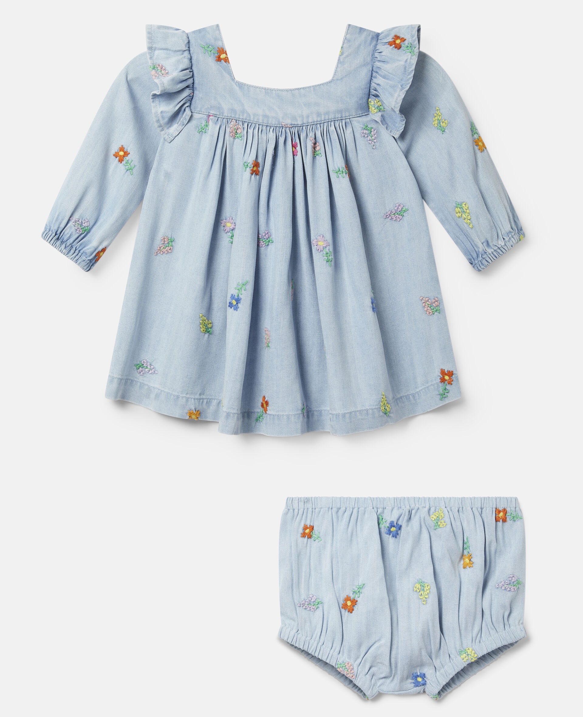 Embroidered Flowers Denim Dress-Blue-large image number 0