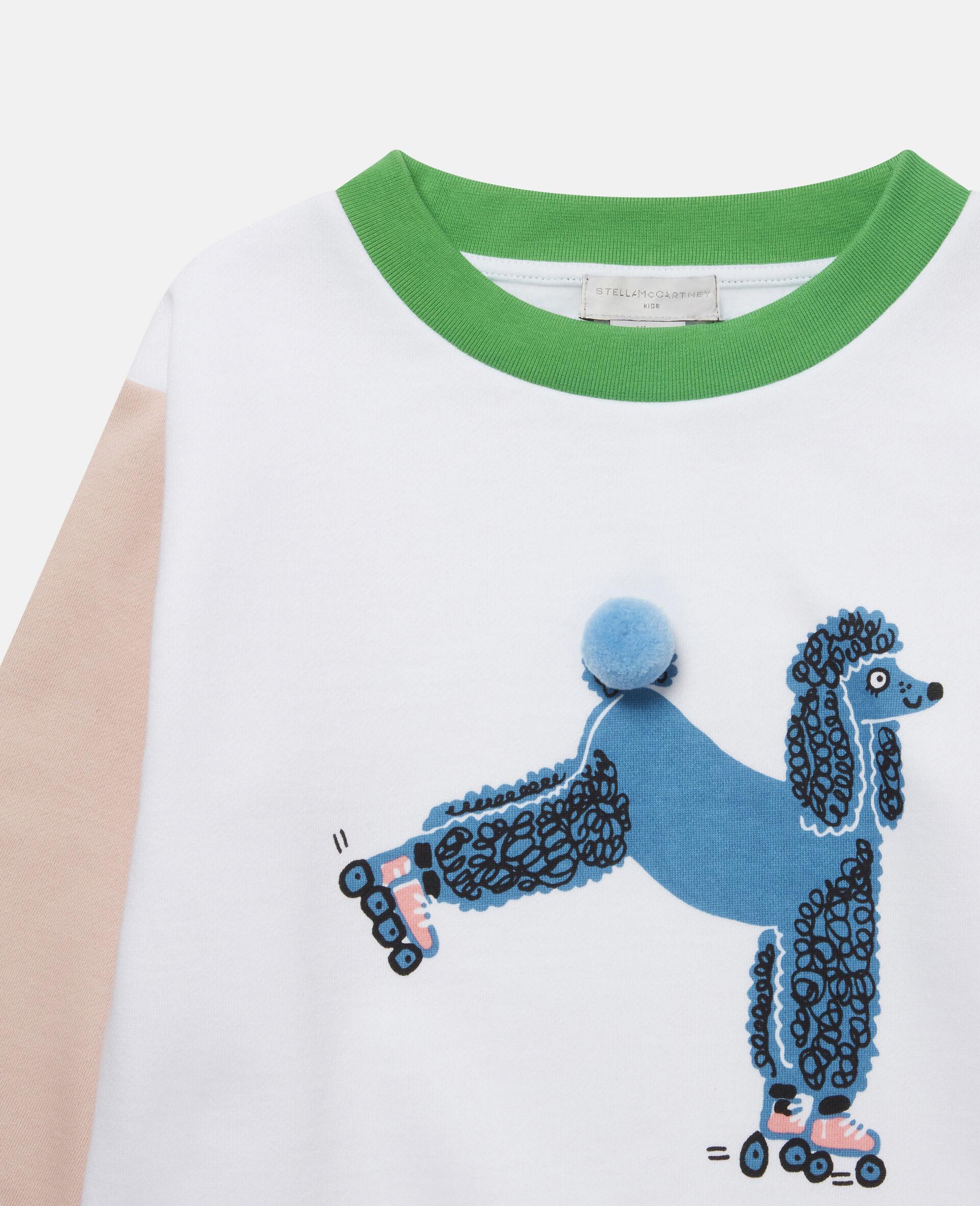 Skating Poodle Fleece Sweatshirt -White-large image number 1