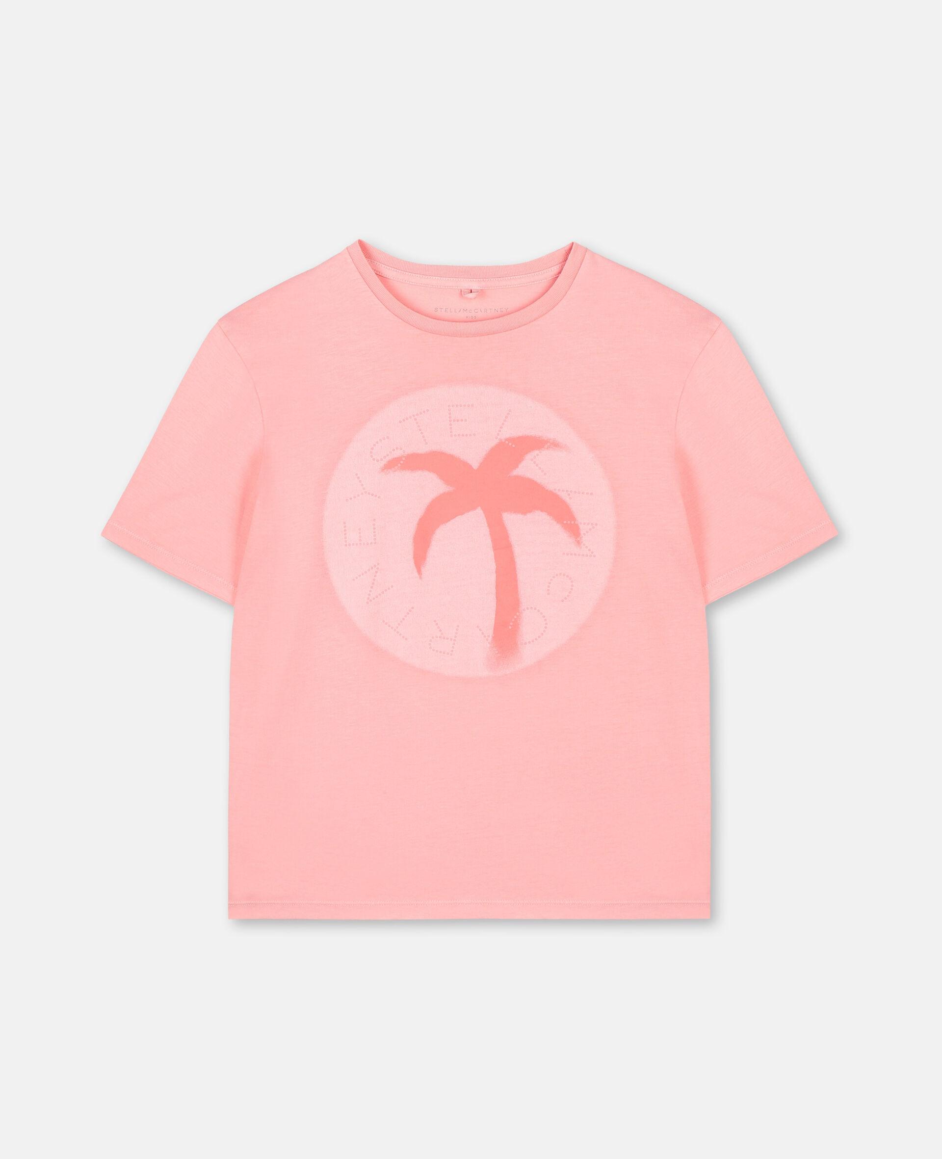 T-shirt oversize en coton avec logo et motif palmier-Rose-large image number 0