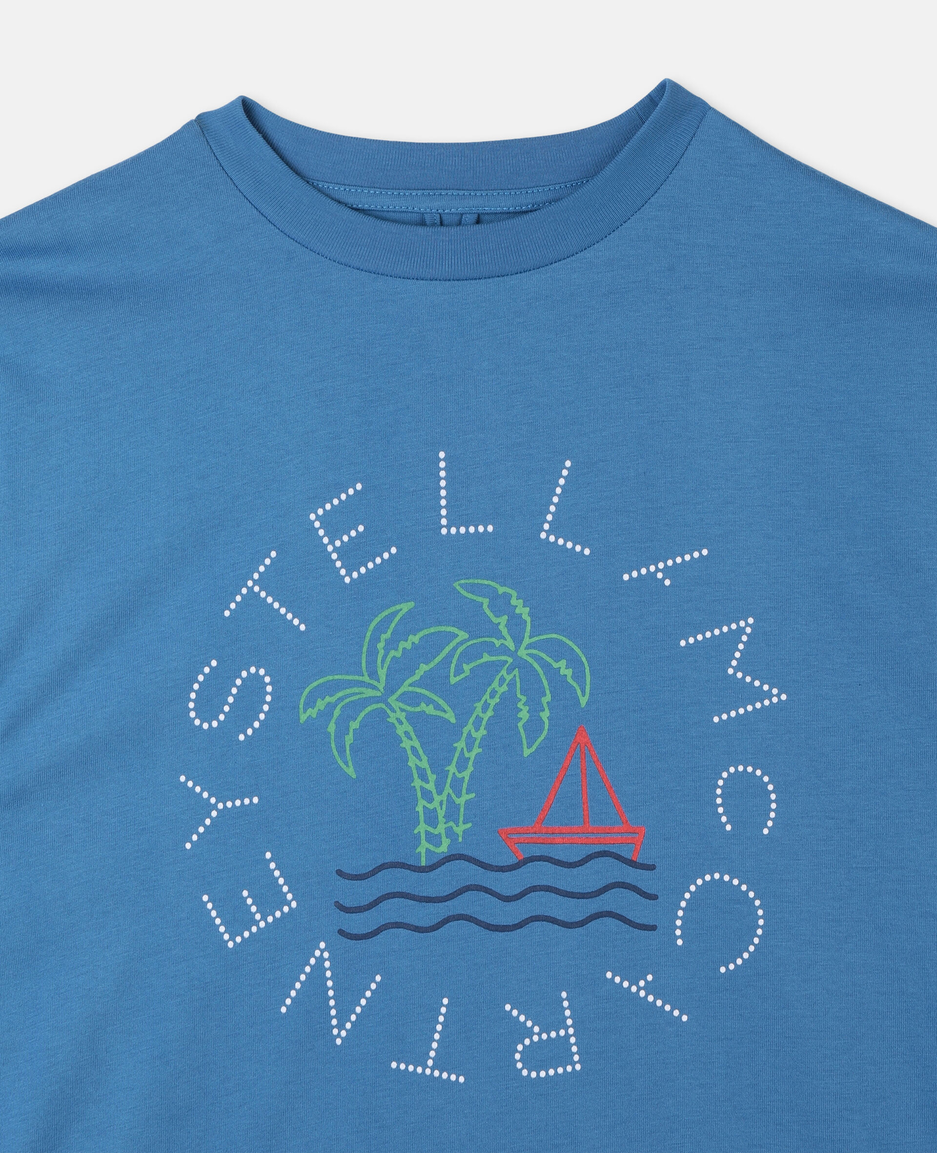 Oversize Logo Sailing Cotton T-Shirt -Blue-large image number 1