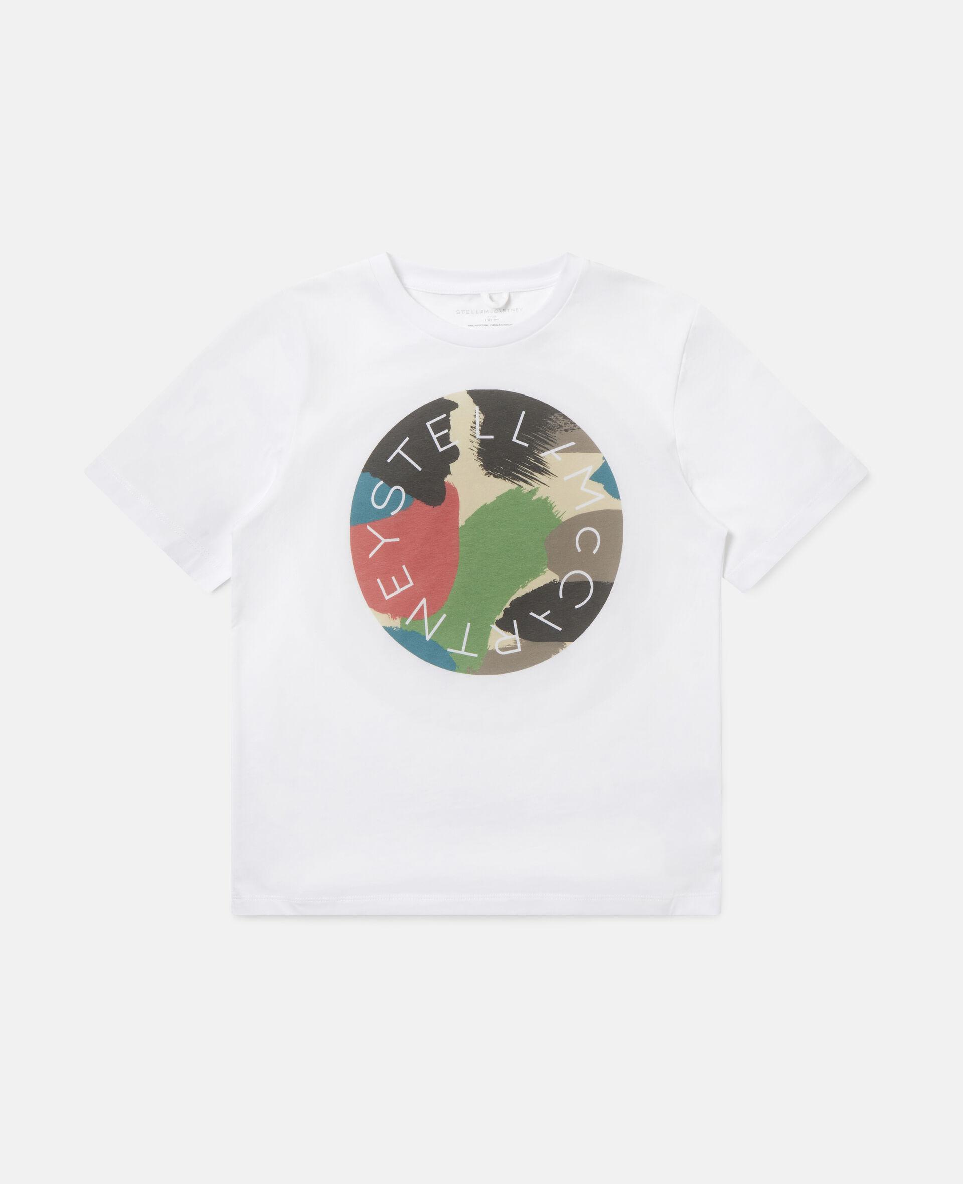 T-shirt en coton à logo camouflage -Blanc-large image number 0