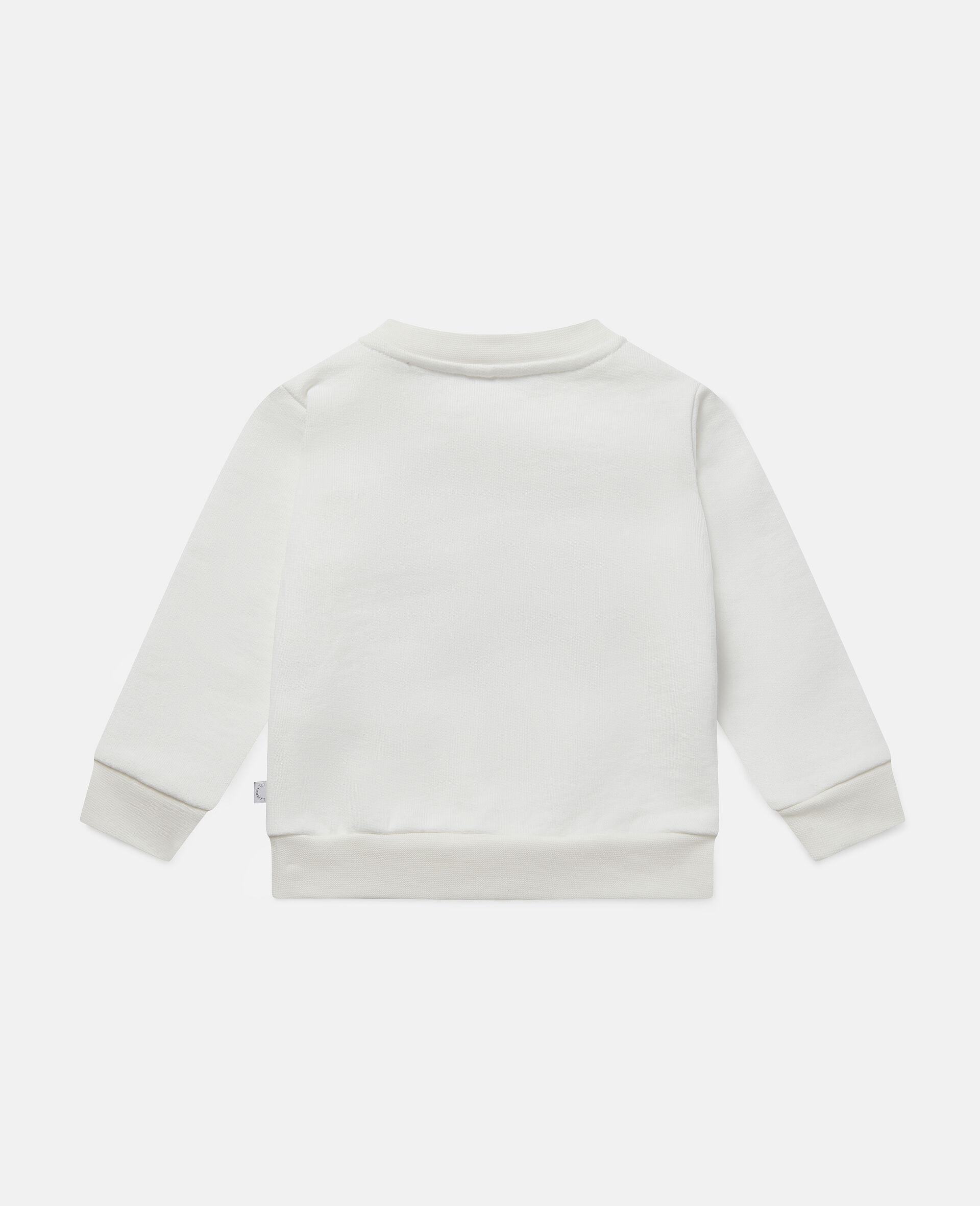 Baumwollfleece-Sweatshirt mit Gänseblümchenherz-Motiv -Weiß-large image number 3