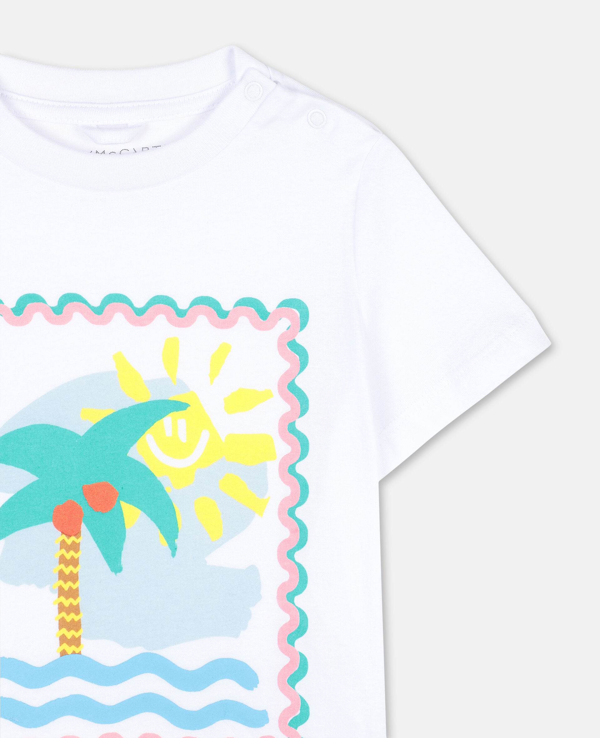 T-shirt en coton à motif carte postale-Blanc-large image number 2