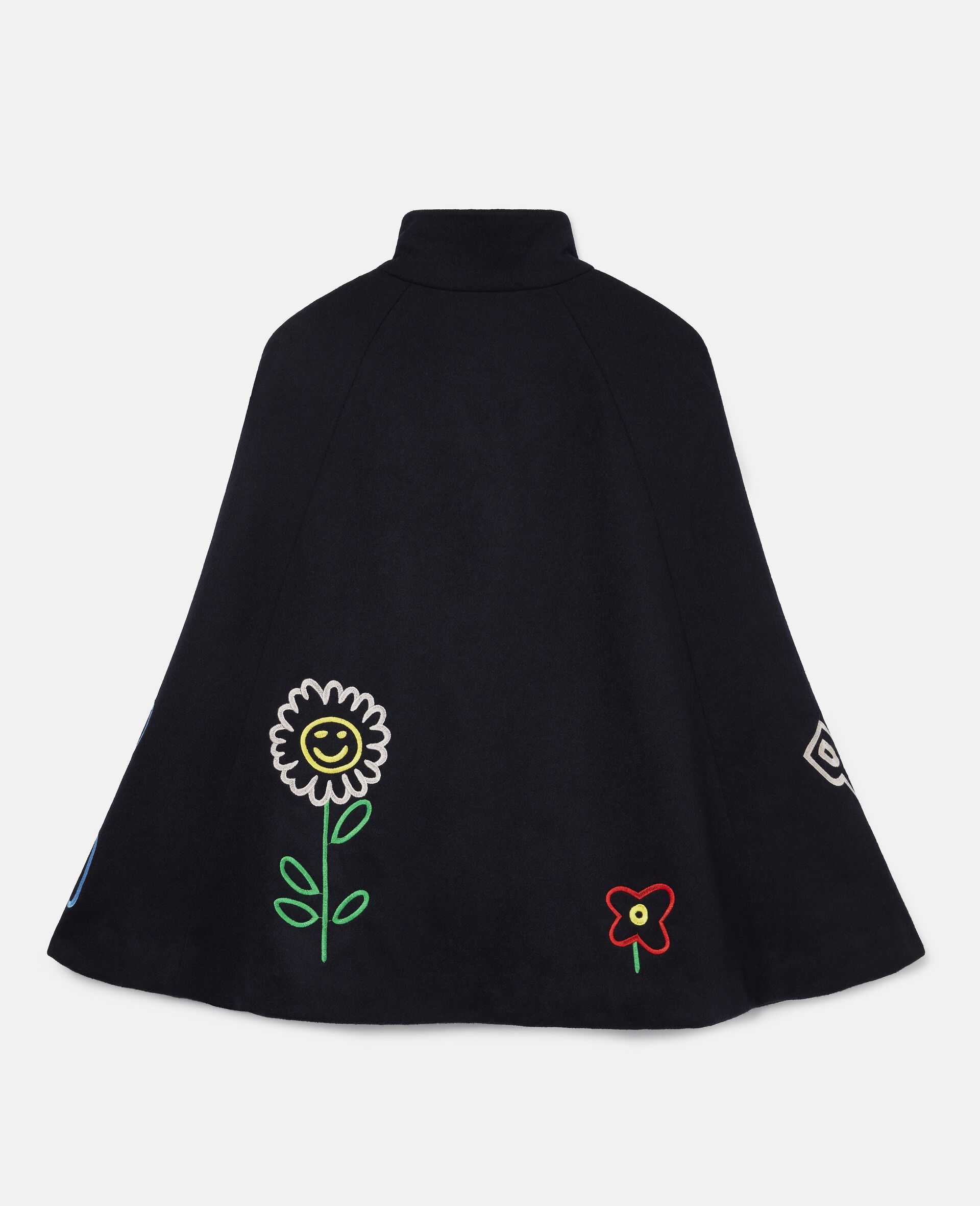 Embroidered Garden Wool Cape -Blue-large image number 3