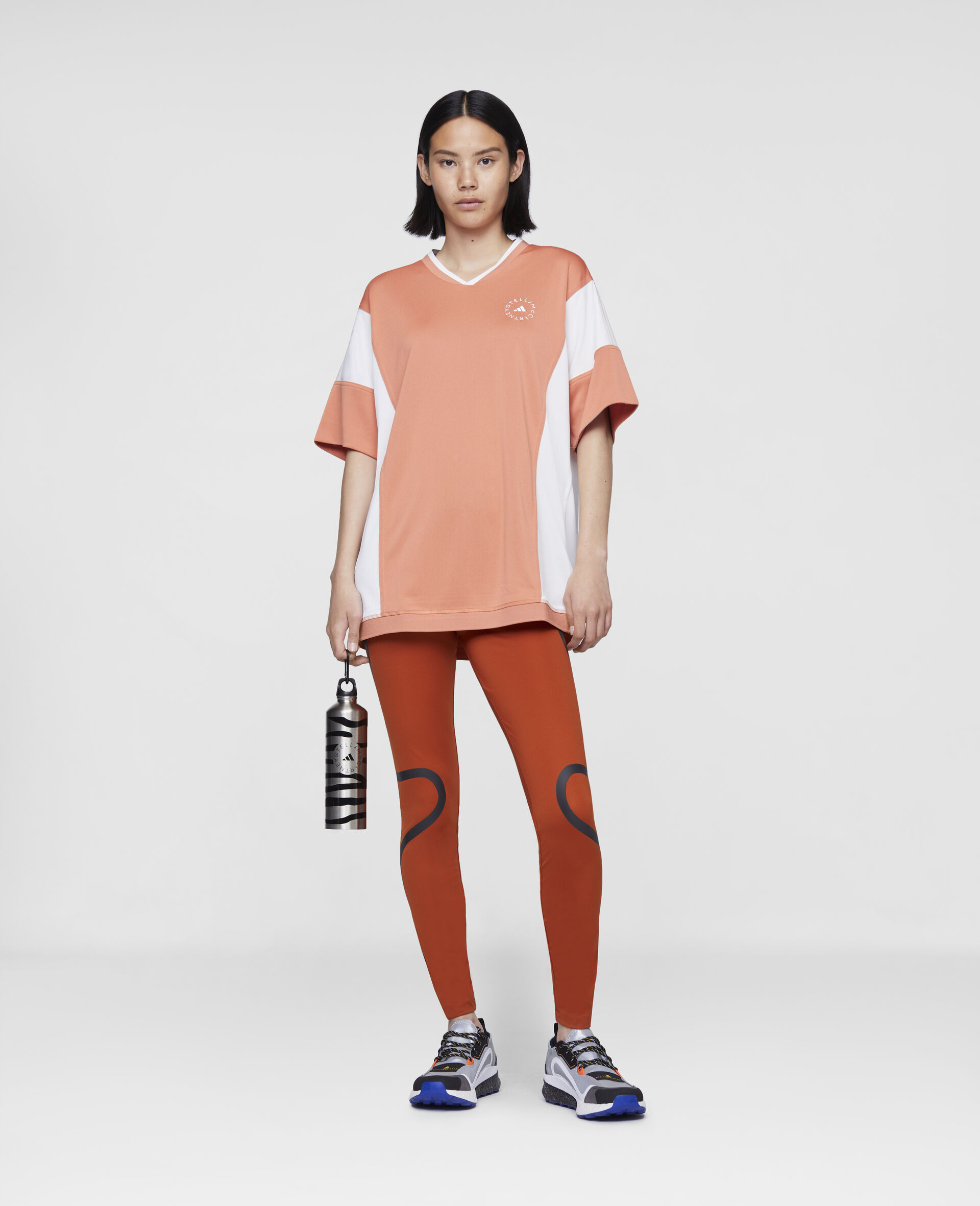 Dusted Clay and White Loose Fit Tee-Orange-large image number 1