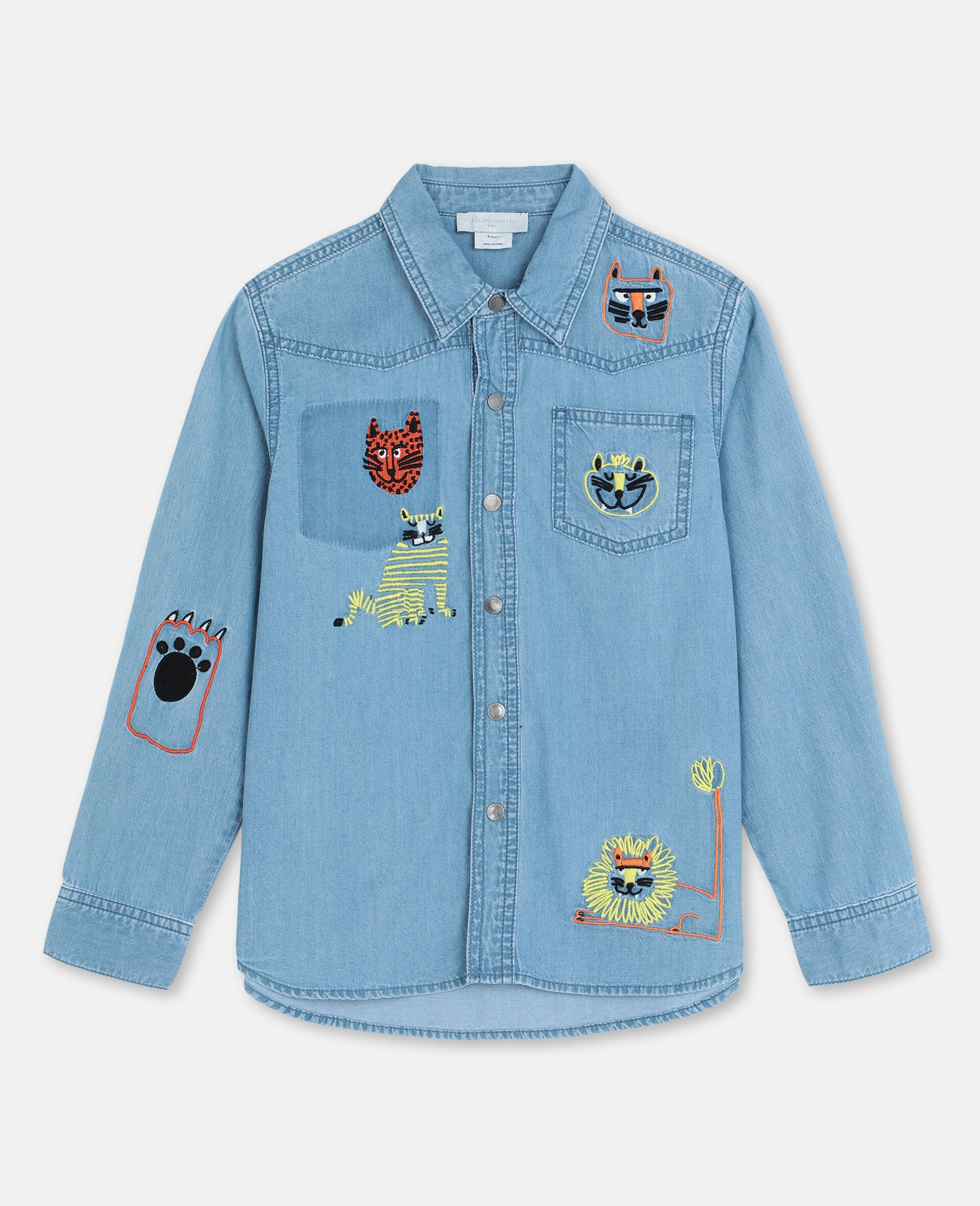 Embroidered Cats Cotton Chambray Shirt -Blue-large image number 0