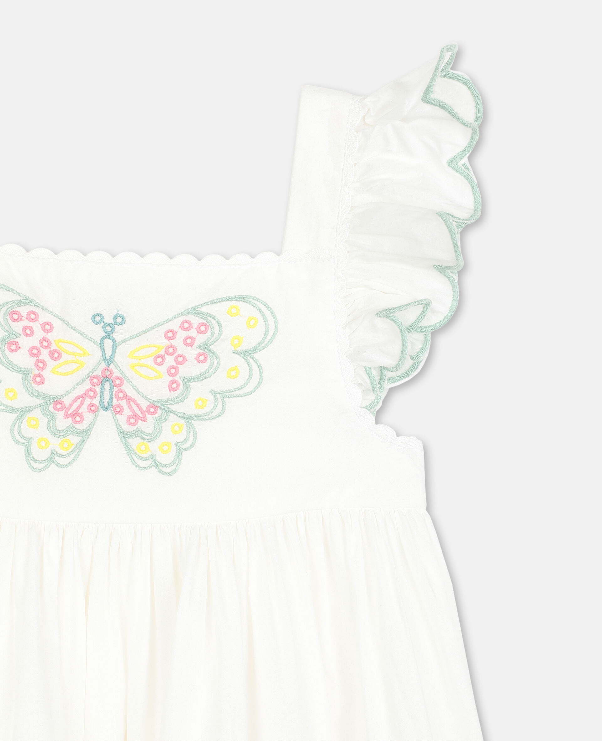 Butterfly 刺绣棉质连衣裙-白色-large image number 1
