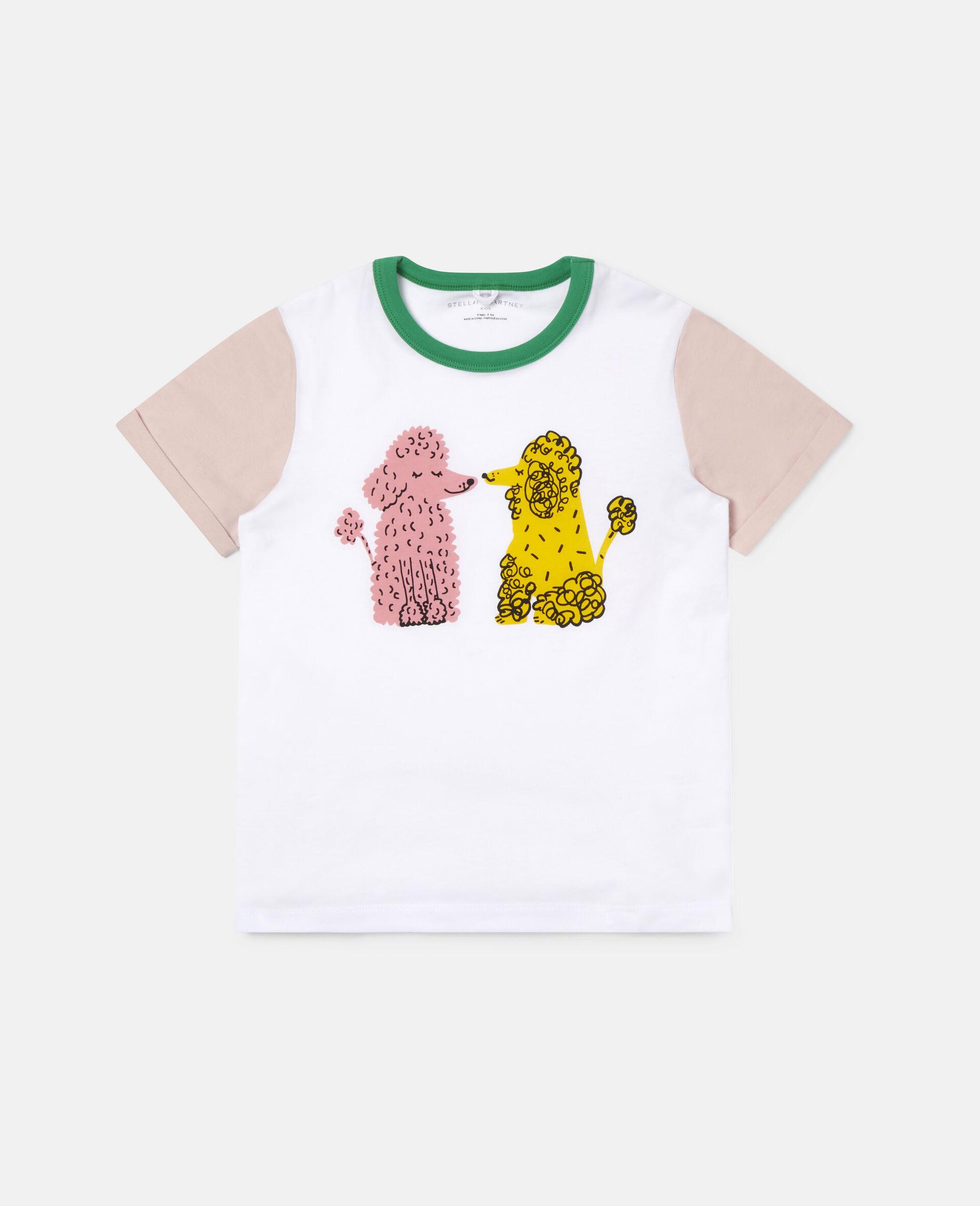 T-Shirt aus Baumwolle mit Pudelpaar-Weiß-large image number 0