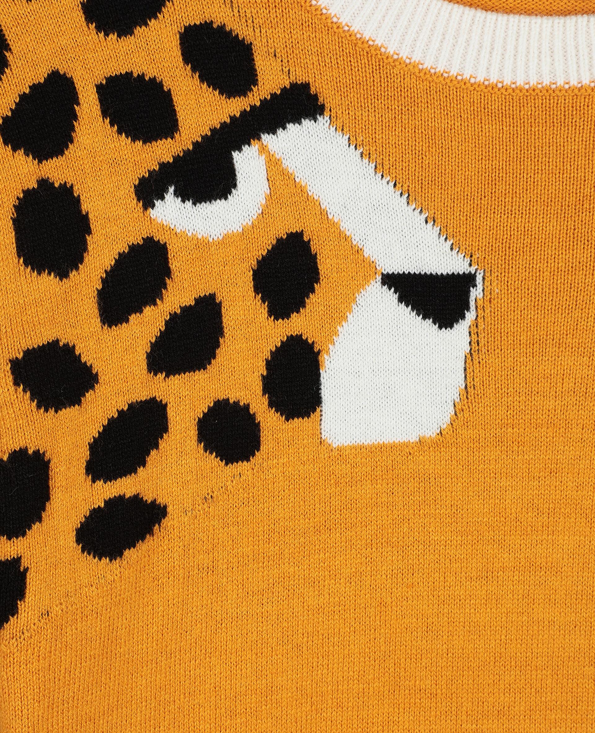 Cheetah嵌花针织连衣裙-橙色-large image number 1