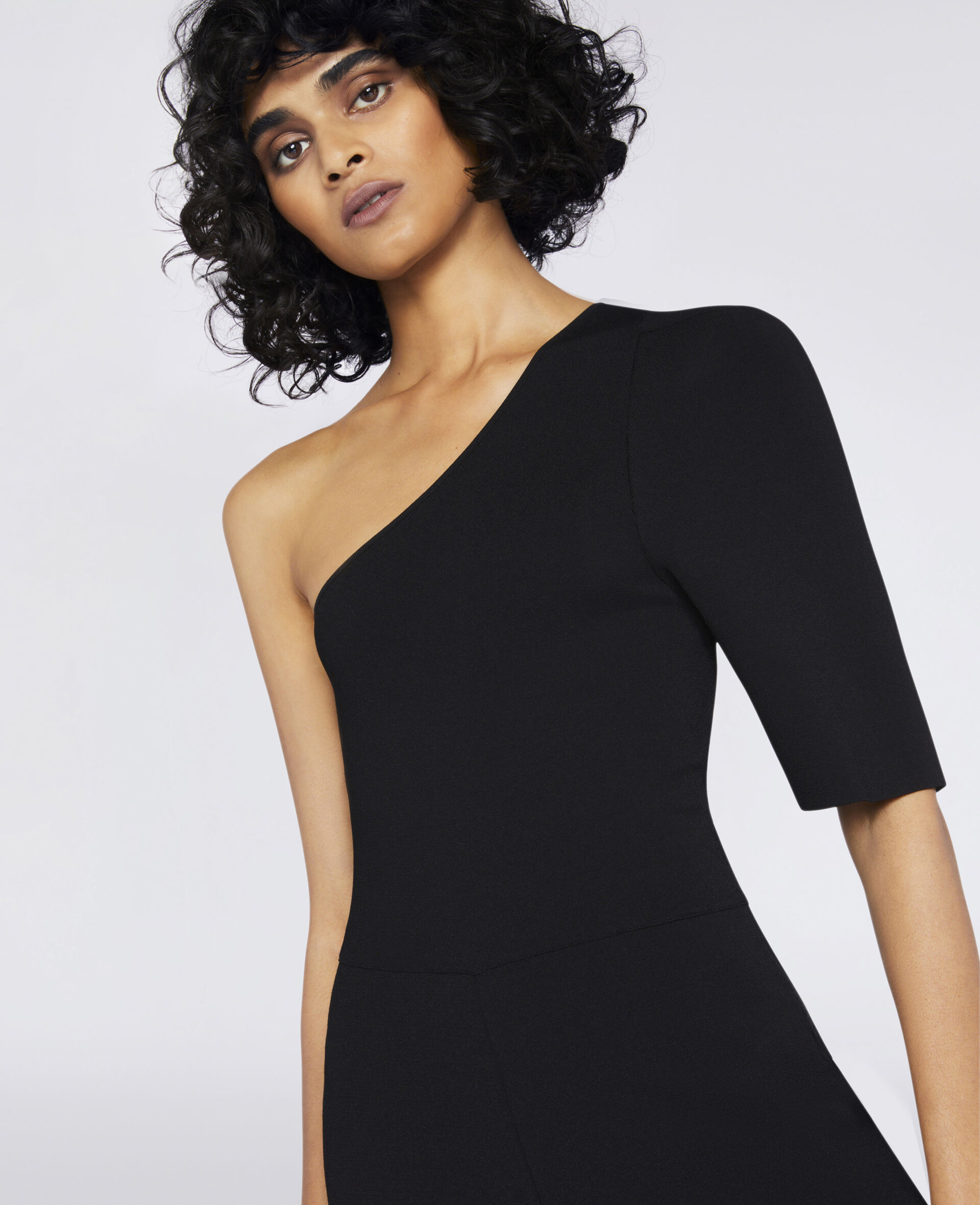 Compact Knit Jumpsuit-Black-large image number 3
