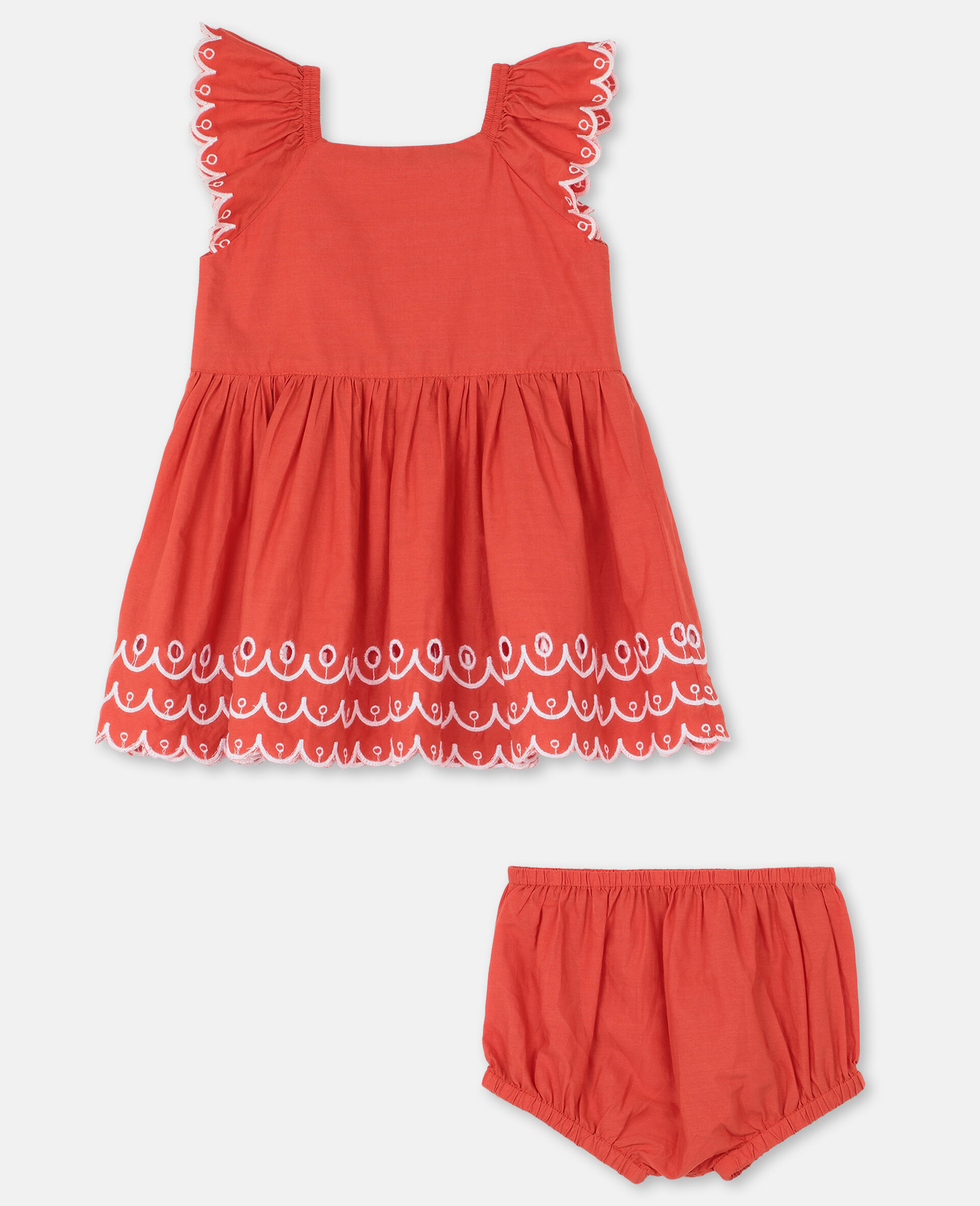 Scalloped Cotton Dress-Red-large image number 3
