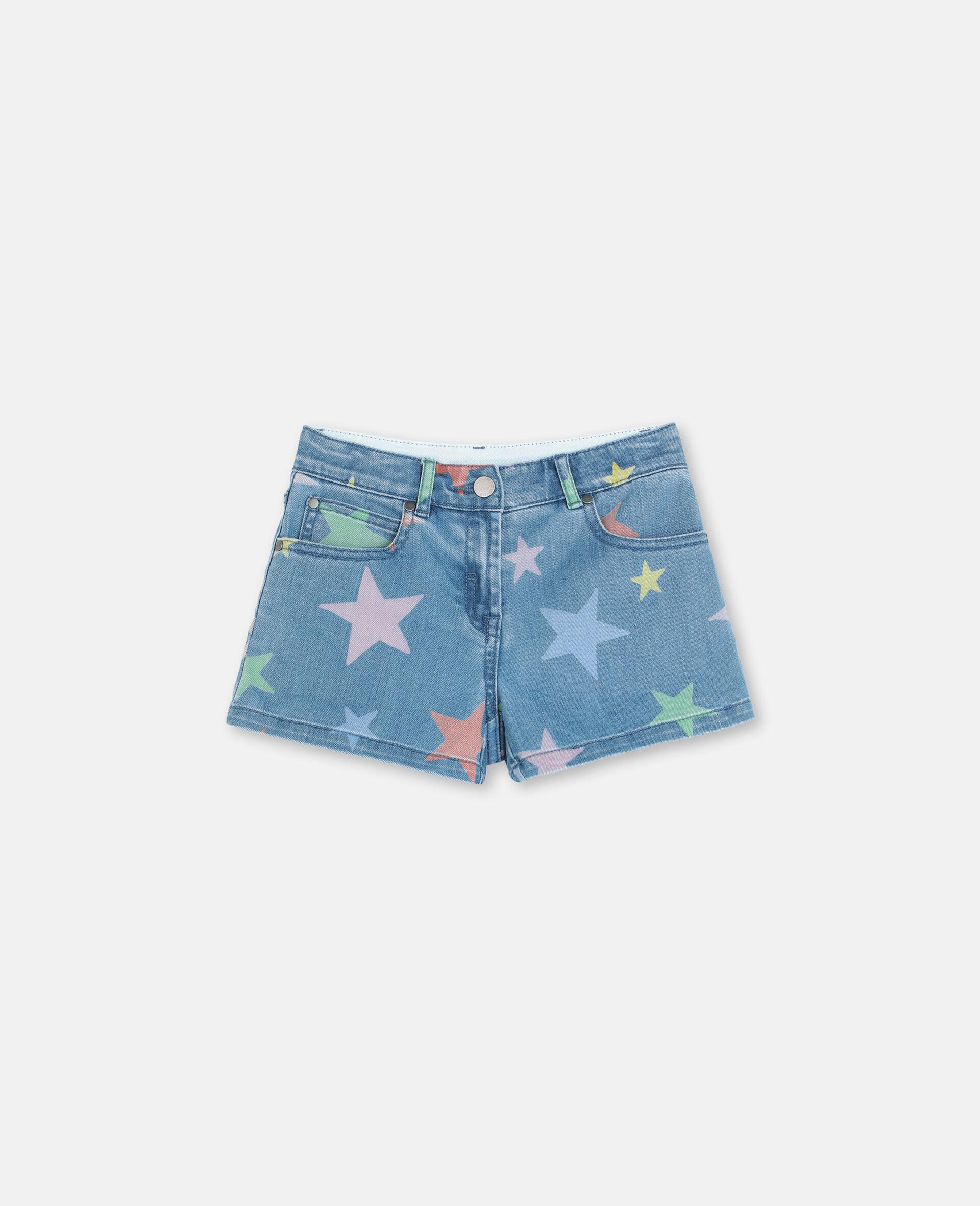 Multicolour Stars Denim Shorts -Multicolour-large image number 0