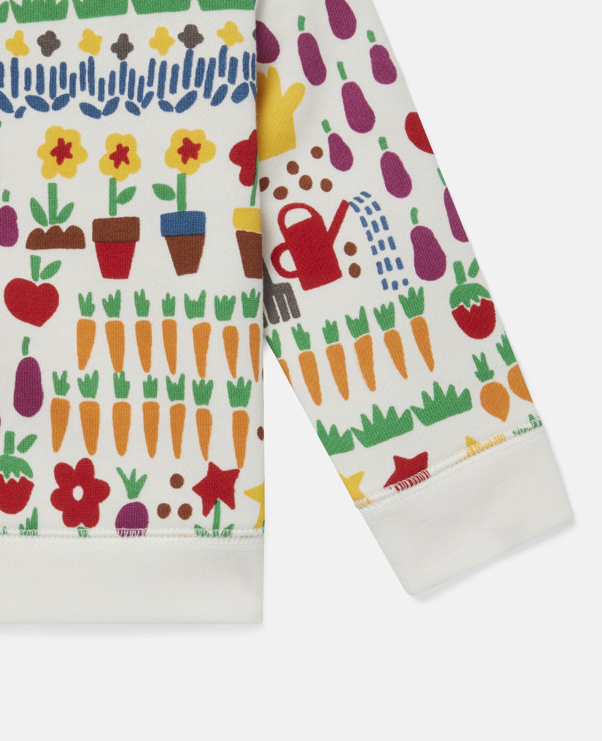 Sweatshirt aus Fleece mit Garten-Print-Weiß-large image number 2