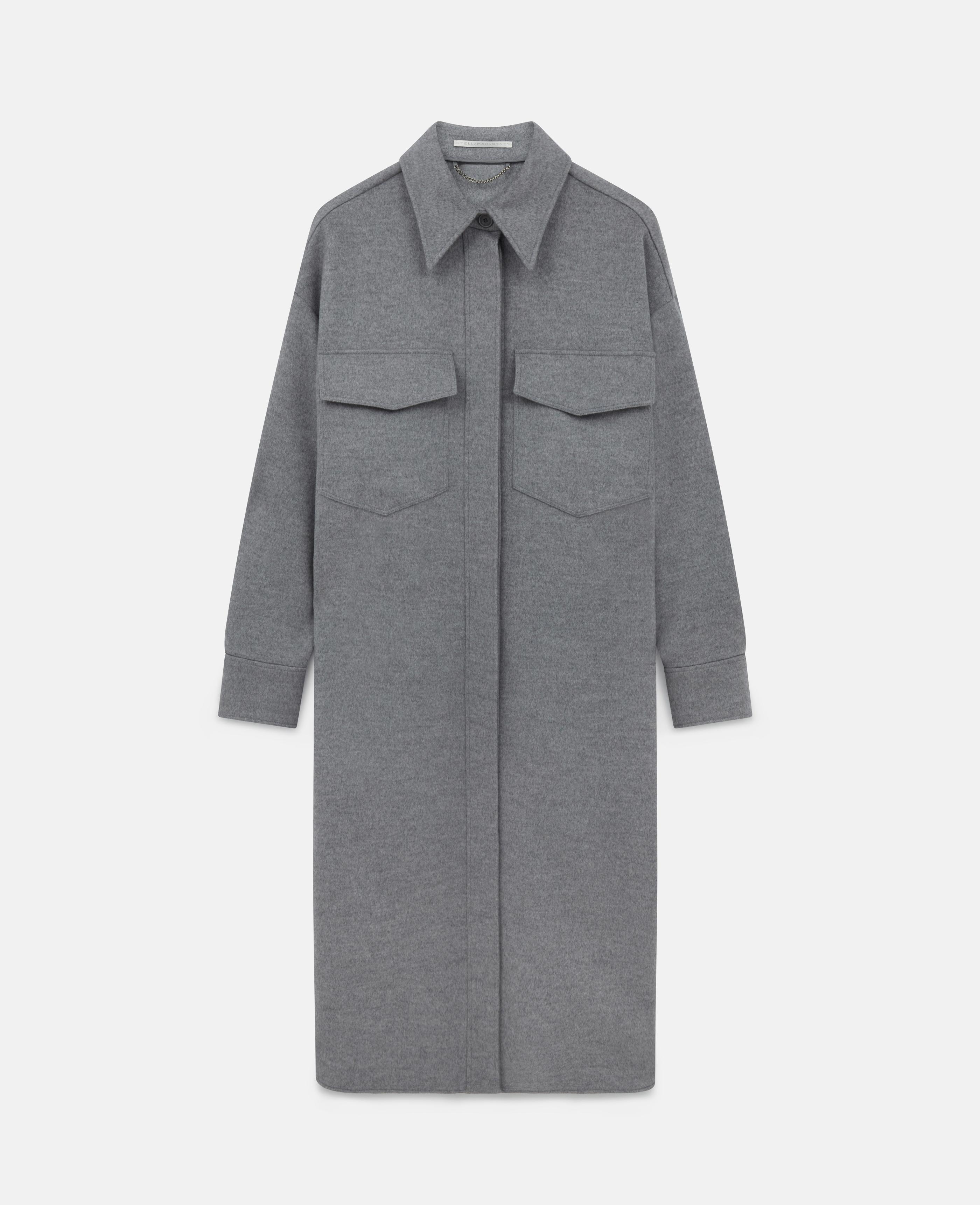 Stella McCartney - Manteau en laine Linda, Femme, Light Grey Melange, Taille: 40